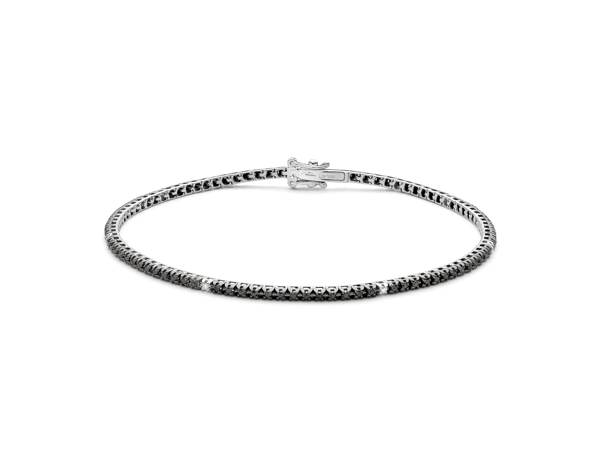 Bracciale Tennis diamanti bianchi e neri. - BRD863-042NB