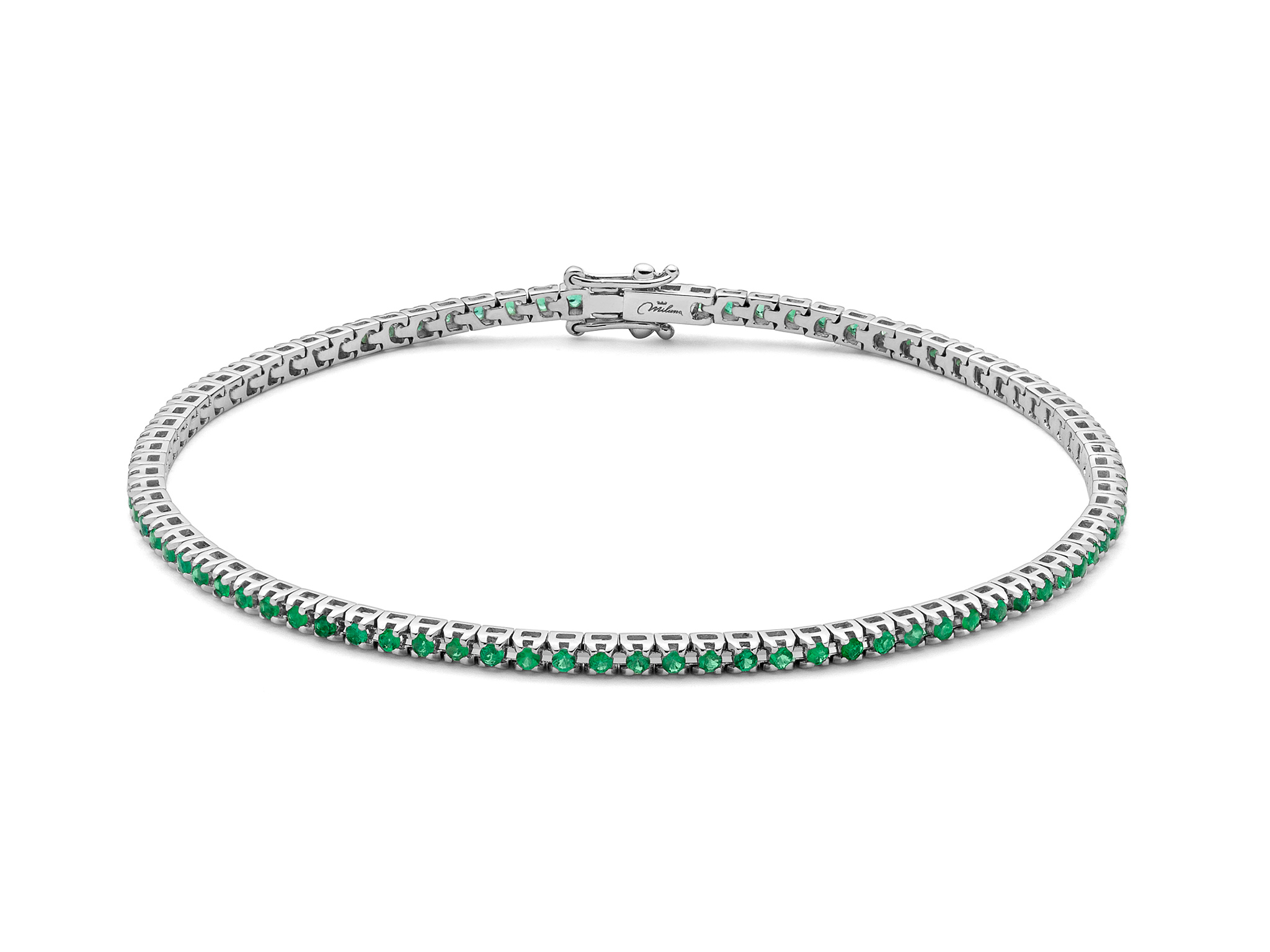 Bracciale tennis e smeraldo. - BRD893-095