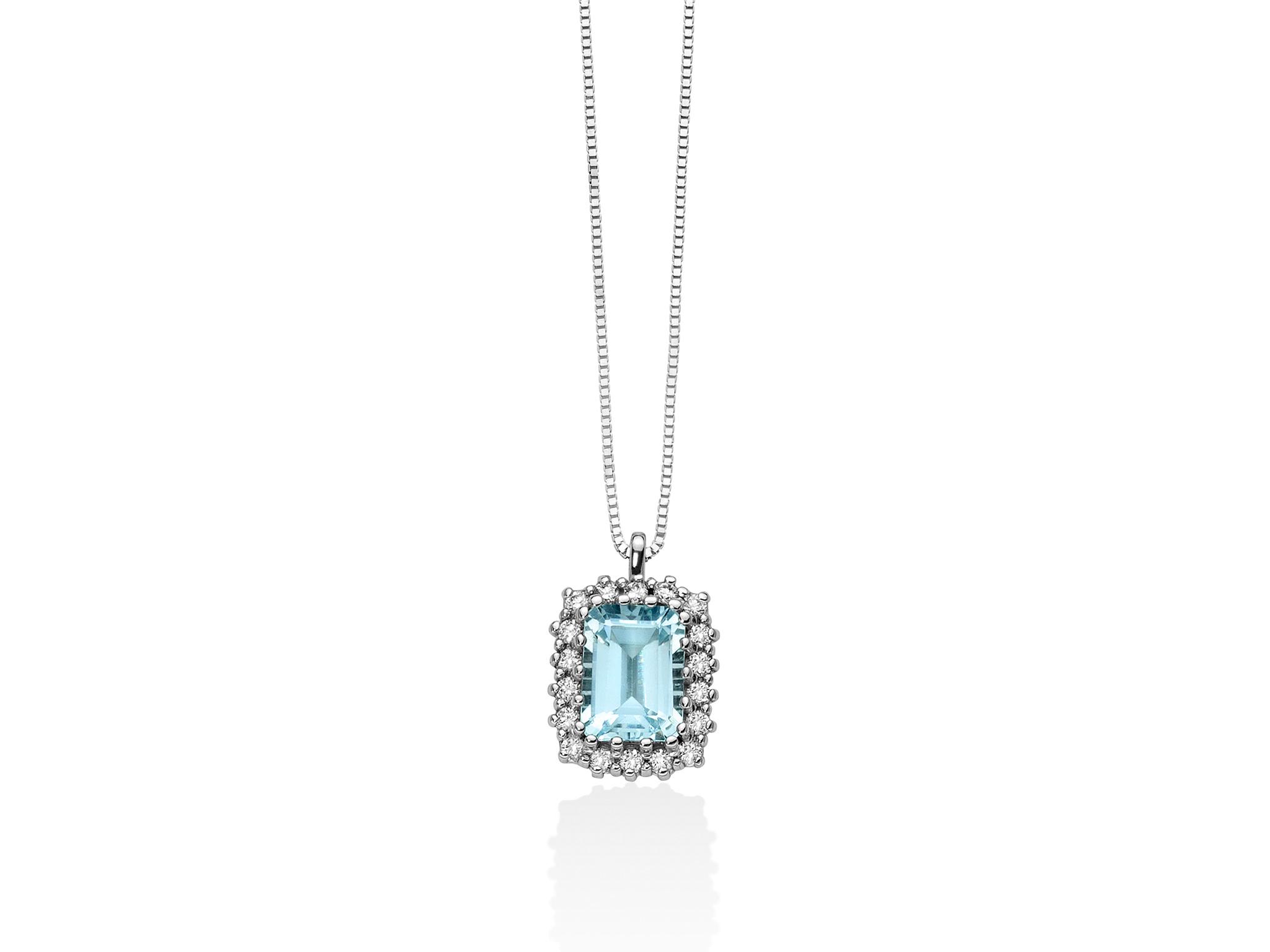 Collana con diamanti e Acquamarina ottagonale - CLD3927