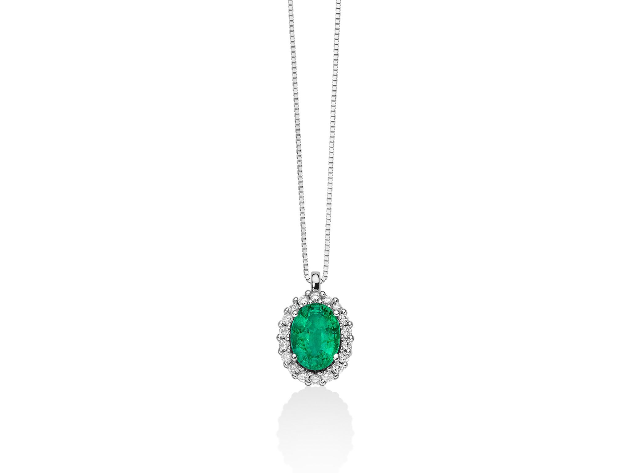 Collana smeraldo ovale e diamanti - CLD4101