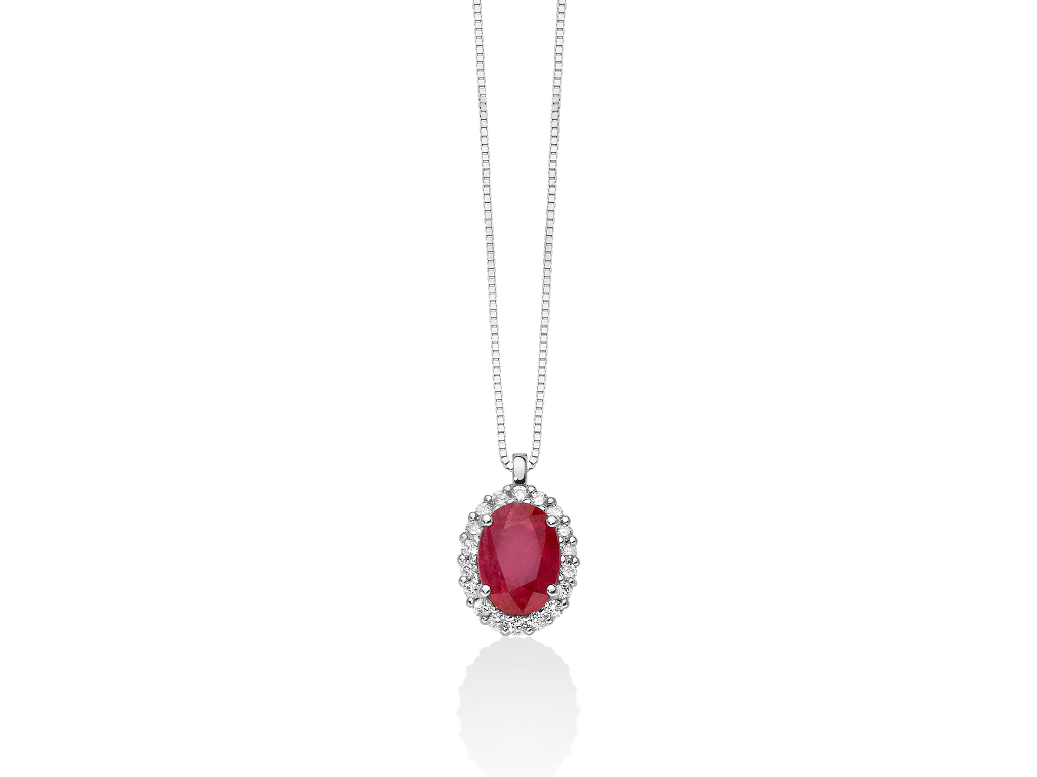 Collana oro con diamanti e Rubino. - CLD4102