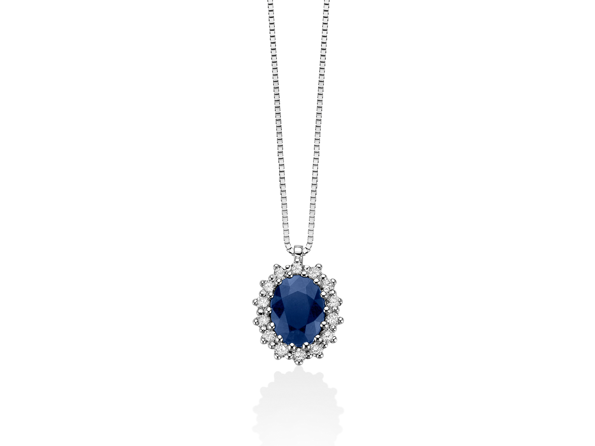 Collana oro, diamanti e zaffiro - CLD4107