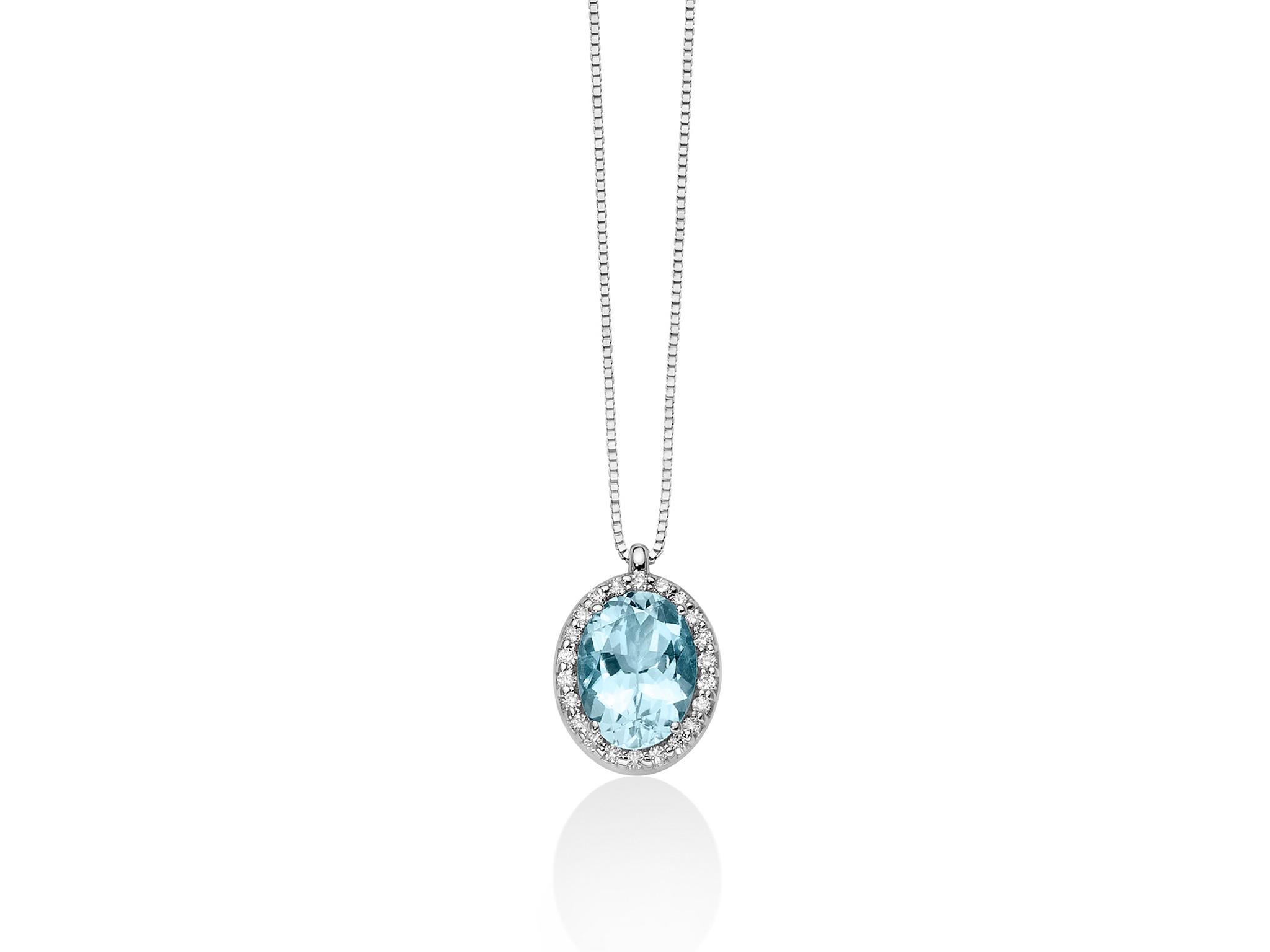 Collana con diamanti e Acquamarina ovale - CLD4127