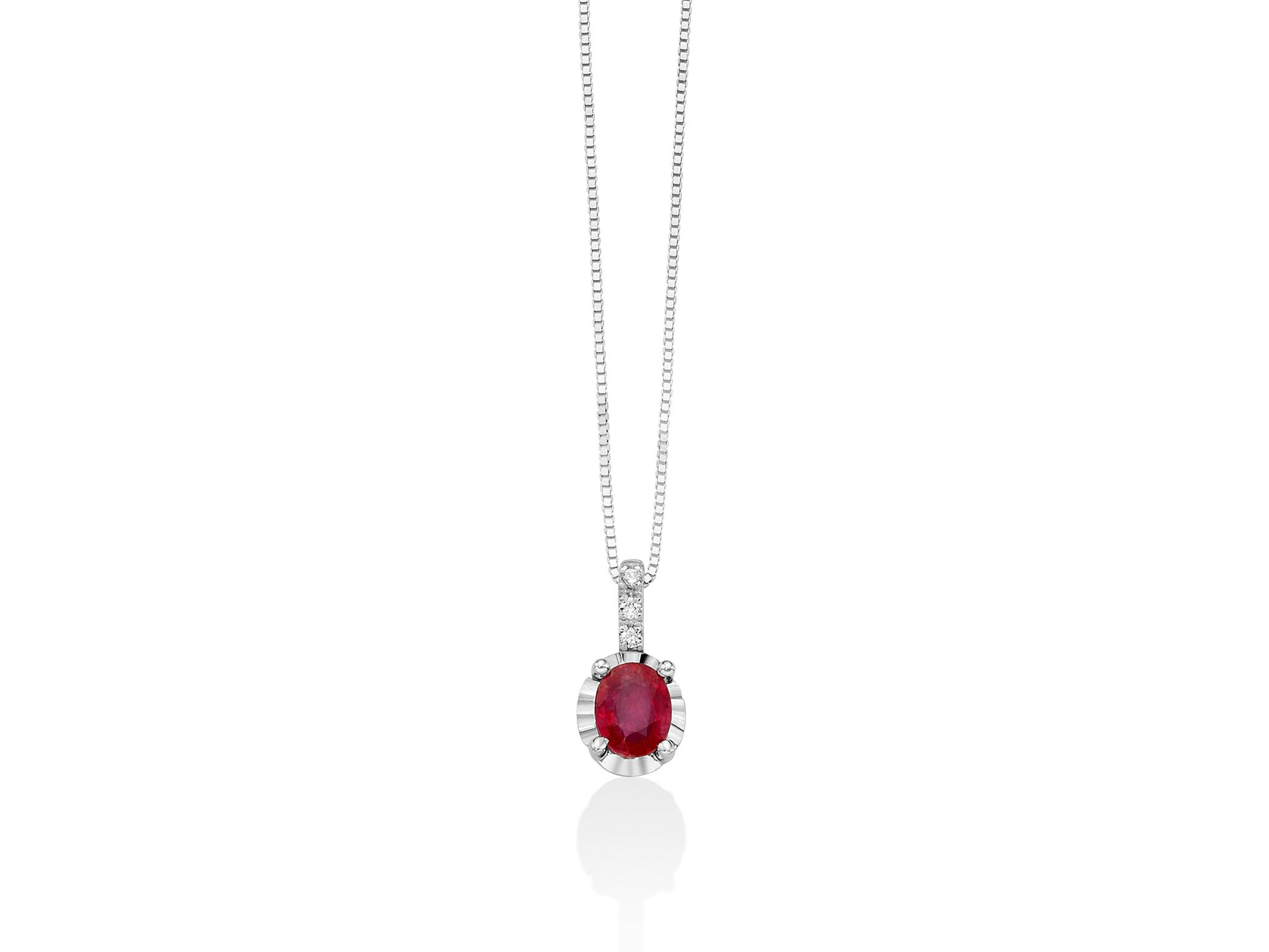 Collana con diamanti e Rubino - CLD4195