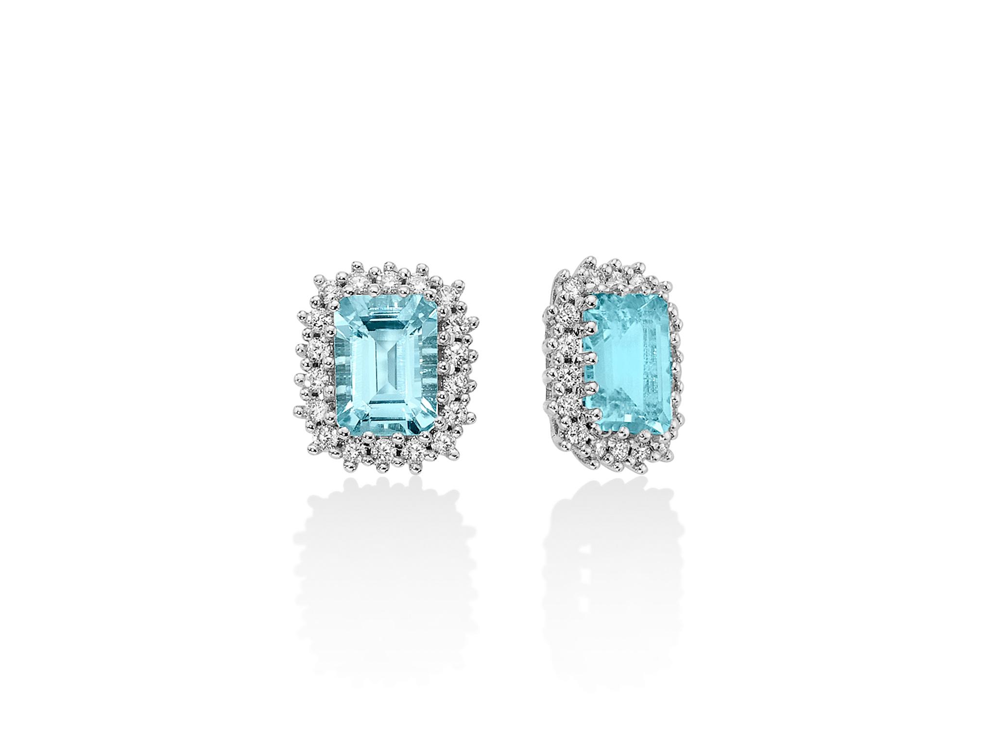 Orecchini oro, diamanti e Acquamarina - ERD2270