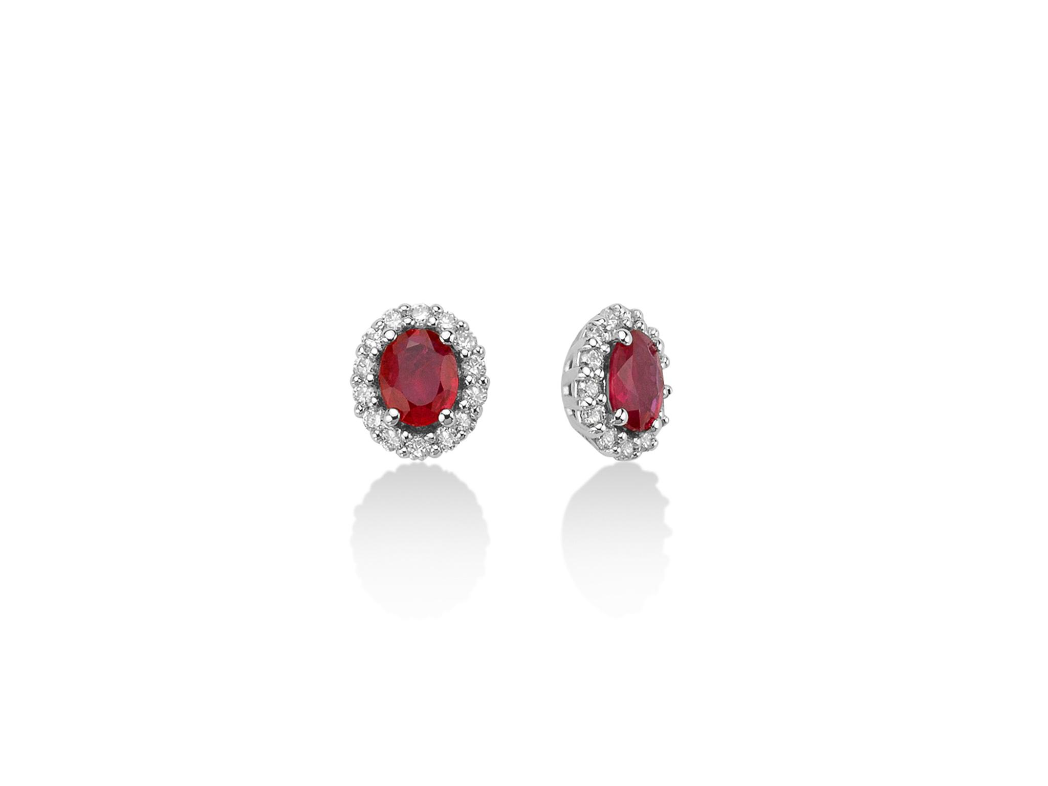 Orecchini oro con diamanti e Rubino. - ERD2402