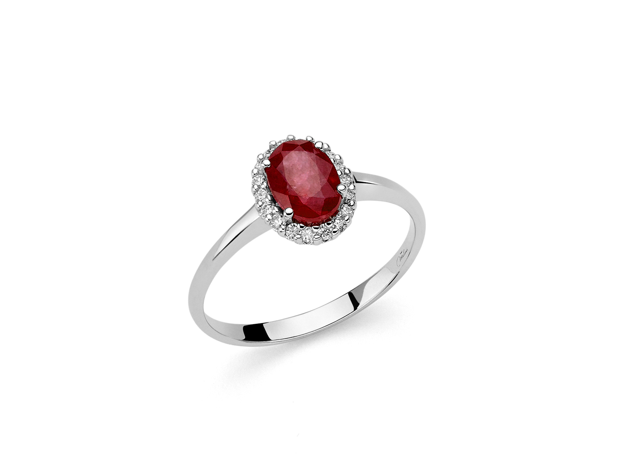 Anello oro con diamanti e Rubino. - LID3280