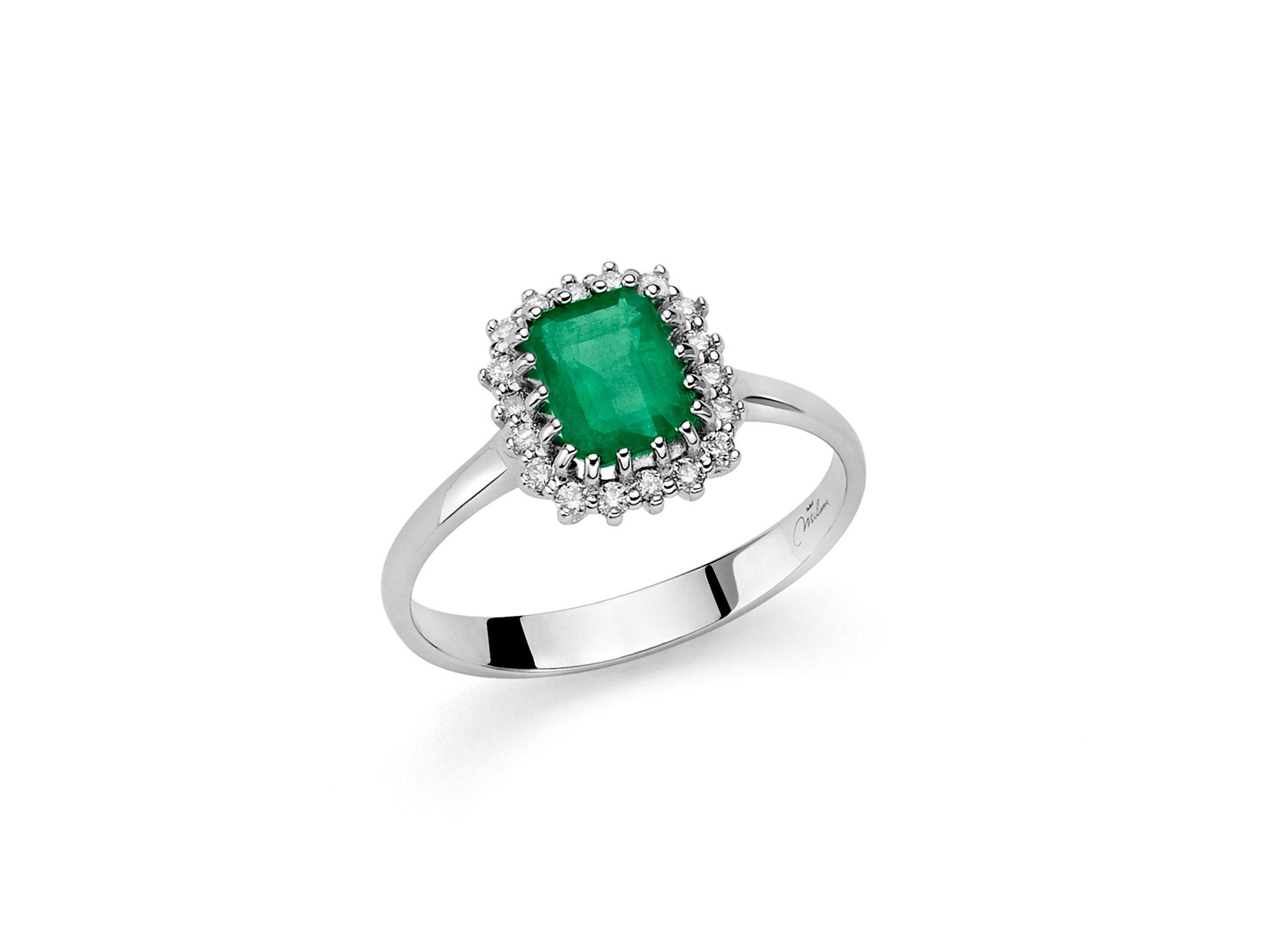 Anello smeraldo e diamanti - LID3376