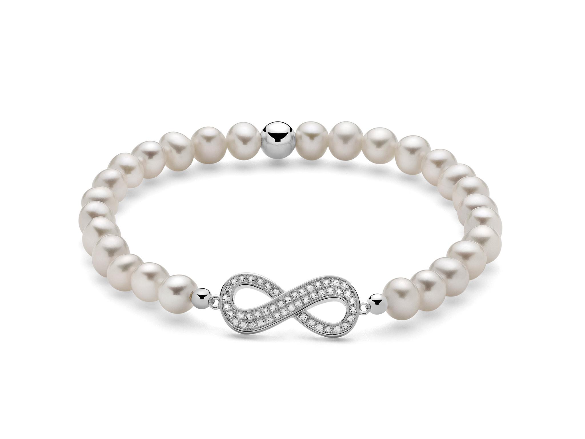 Bracciale di perle con infinito in argento. - PBR2001-TPZ