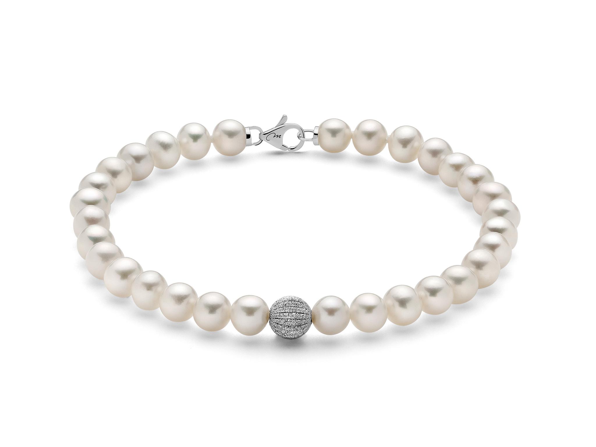Bracciale di perle con boule diamantata rigata - PBR2534V