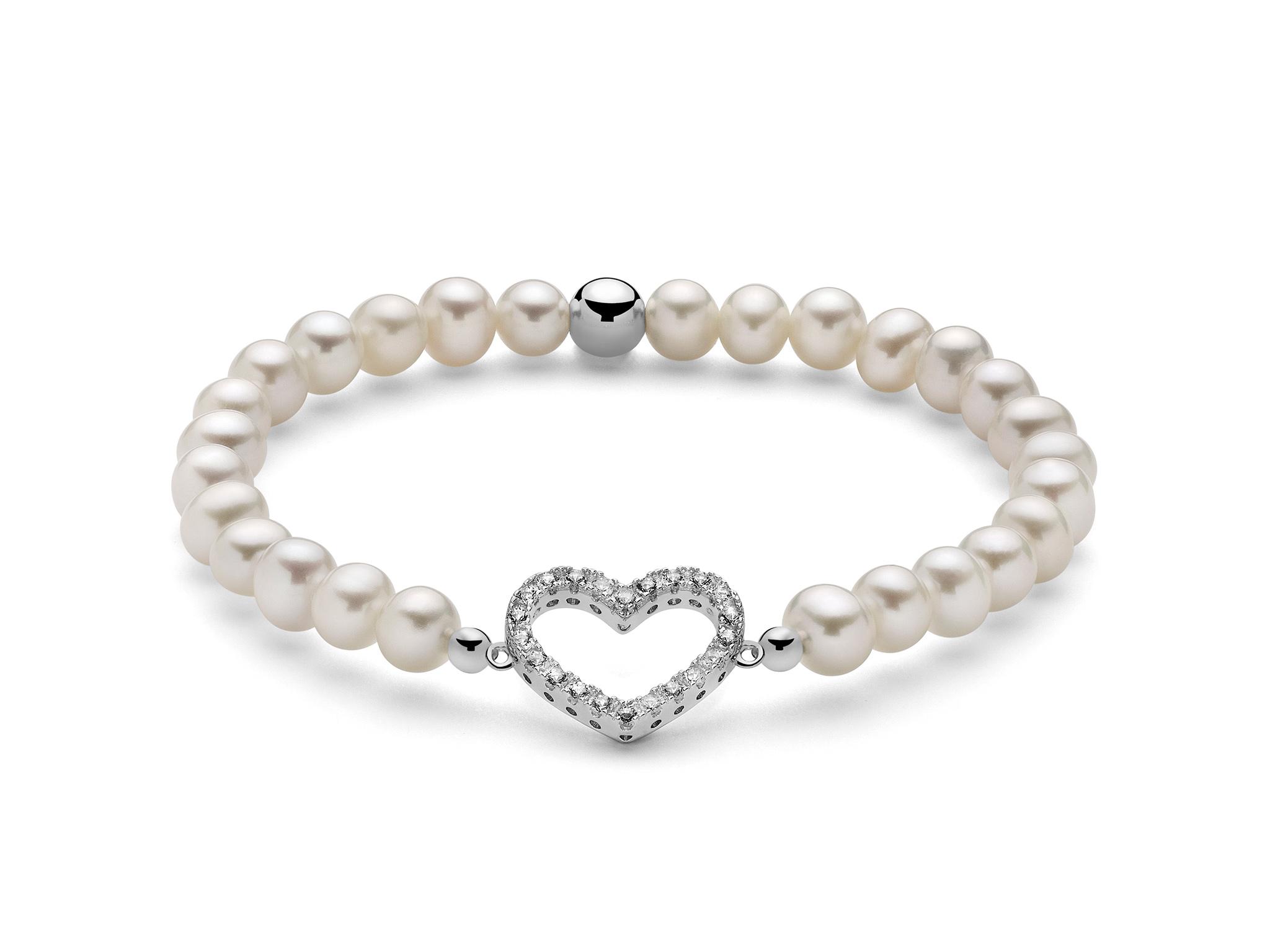 Bracciale di perle con cuore in argento - PBR2585-TPZ