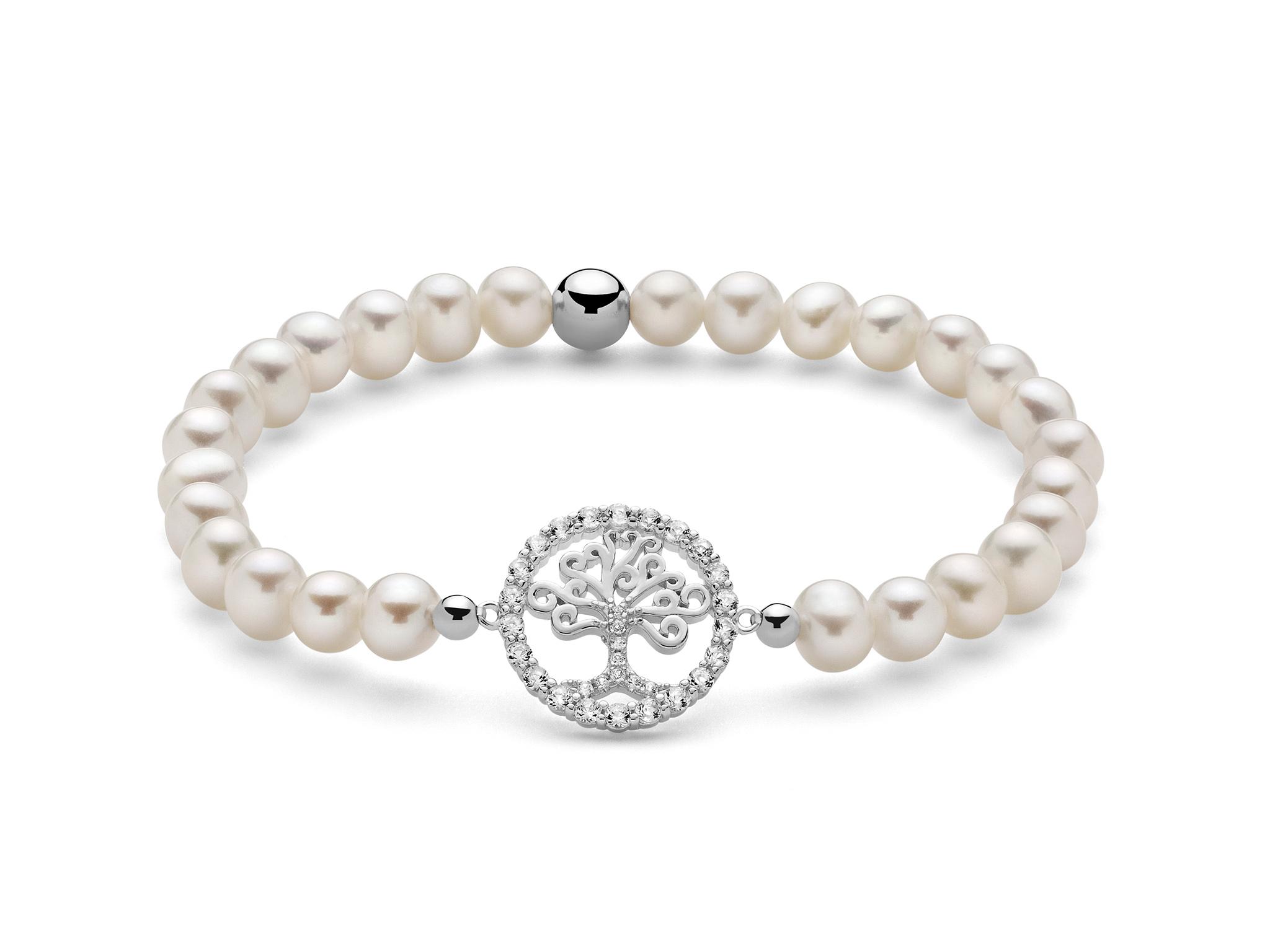 Bracciale di perle con albero della vita in argento. - PBR2605-TPZ