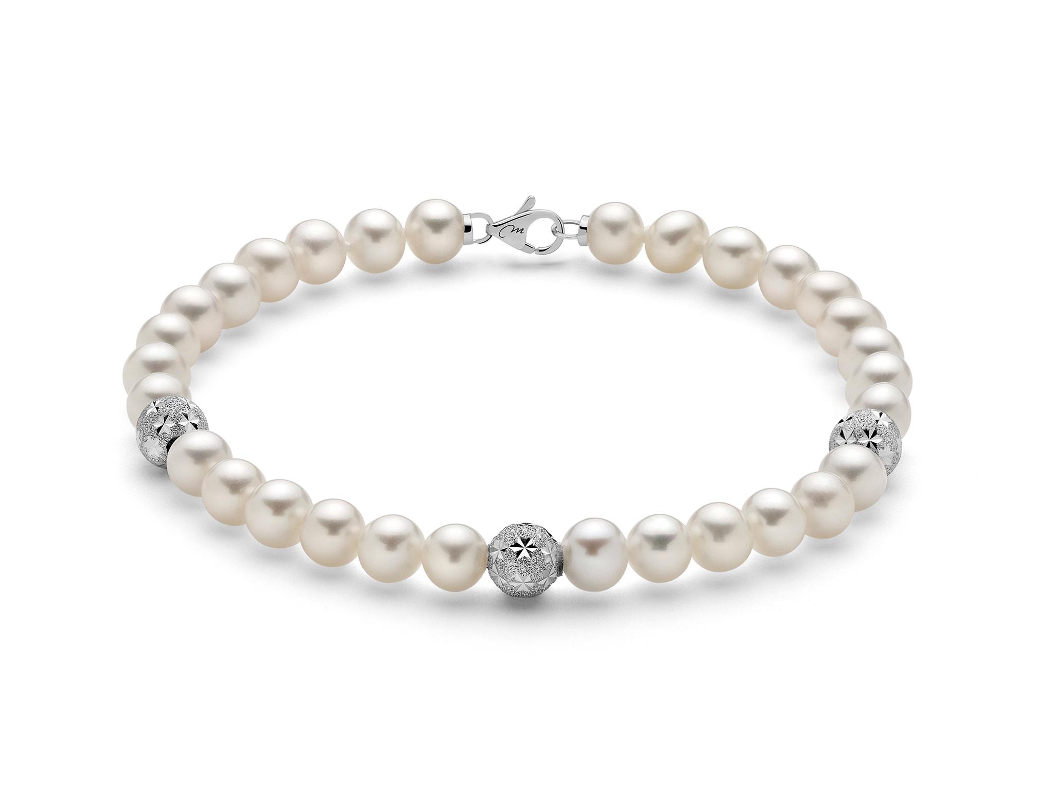 Bracciale di perle con tre boule stellate in oro - PBR2765V