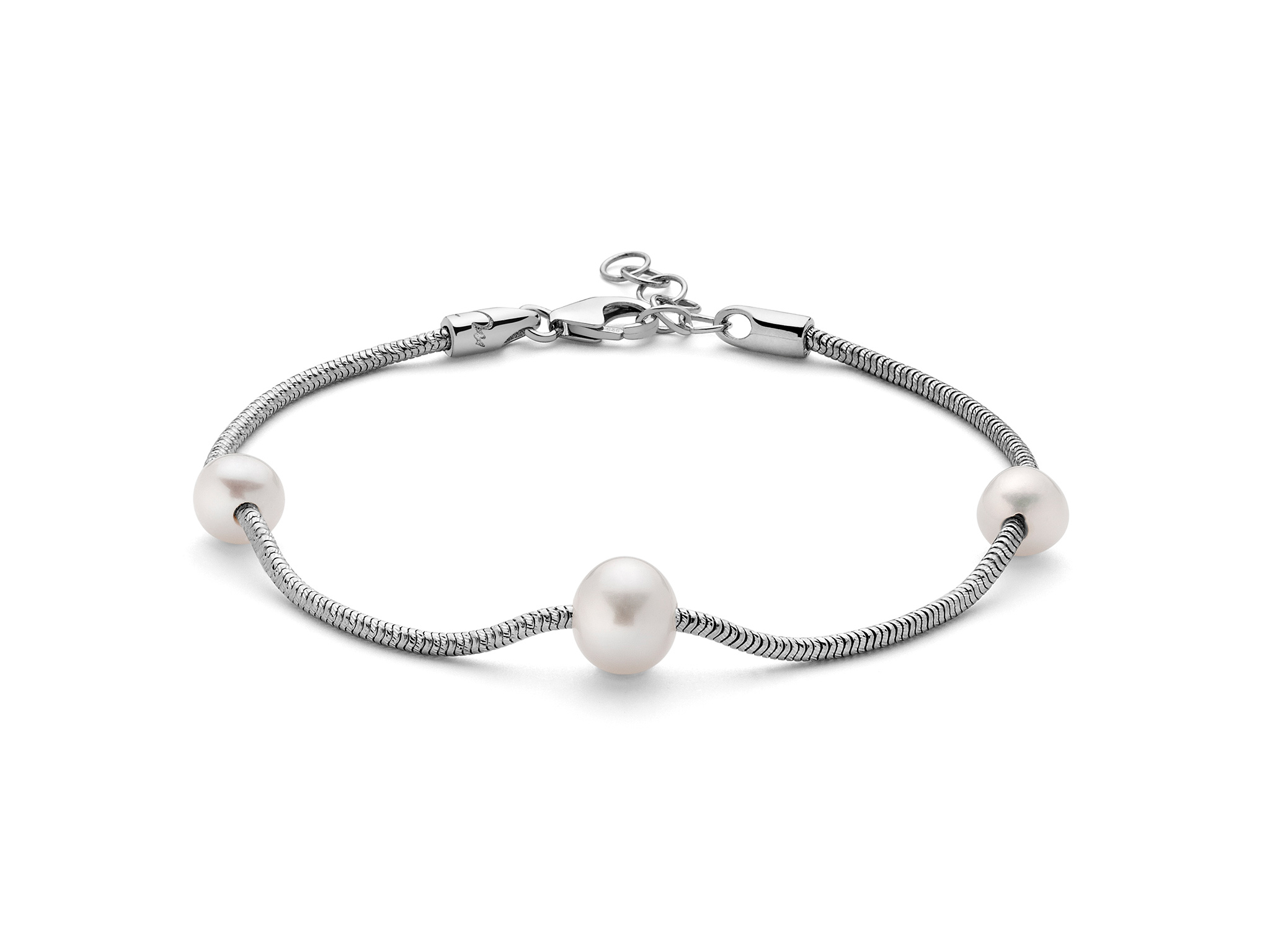 Bracciale in argento, monofilo, con perle - PBR2829