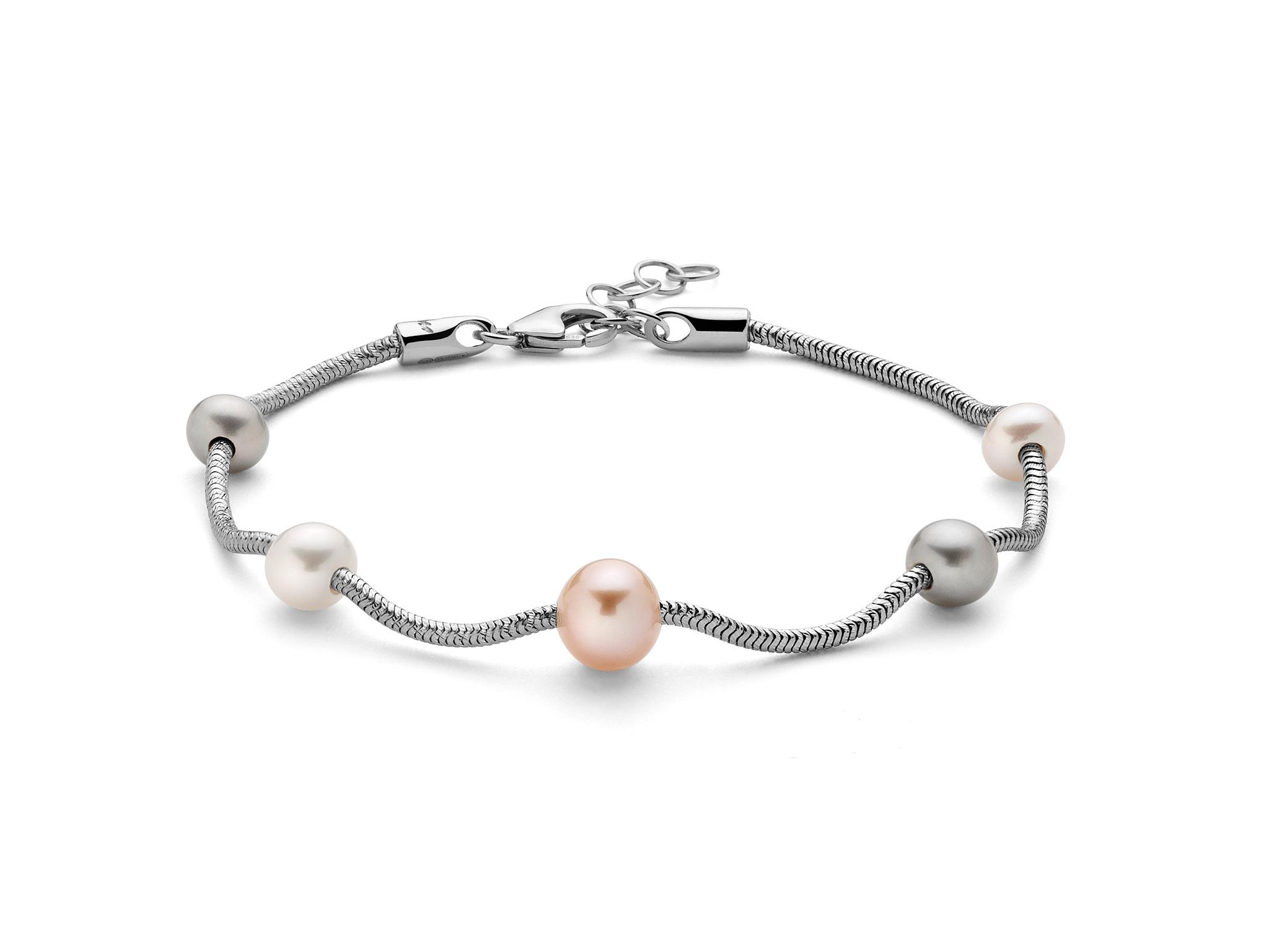 Bracciale monofilo in argento con perle multicolore - PBR2831