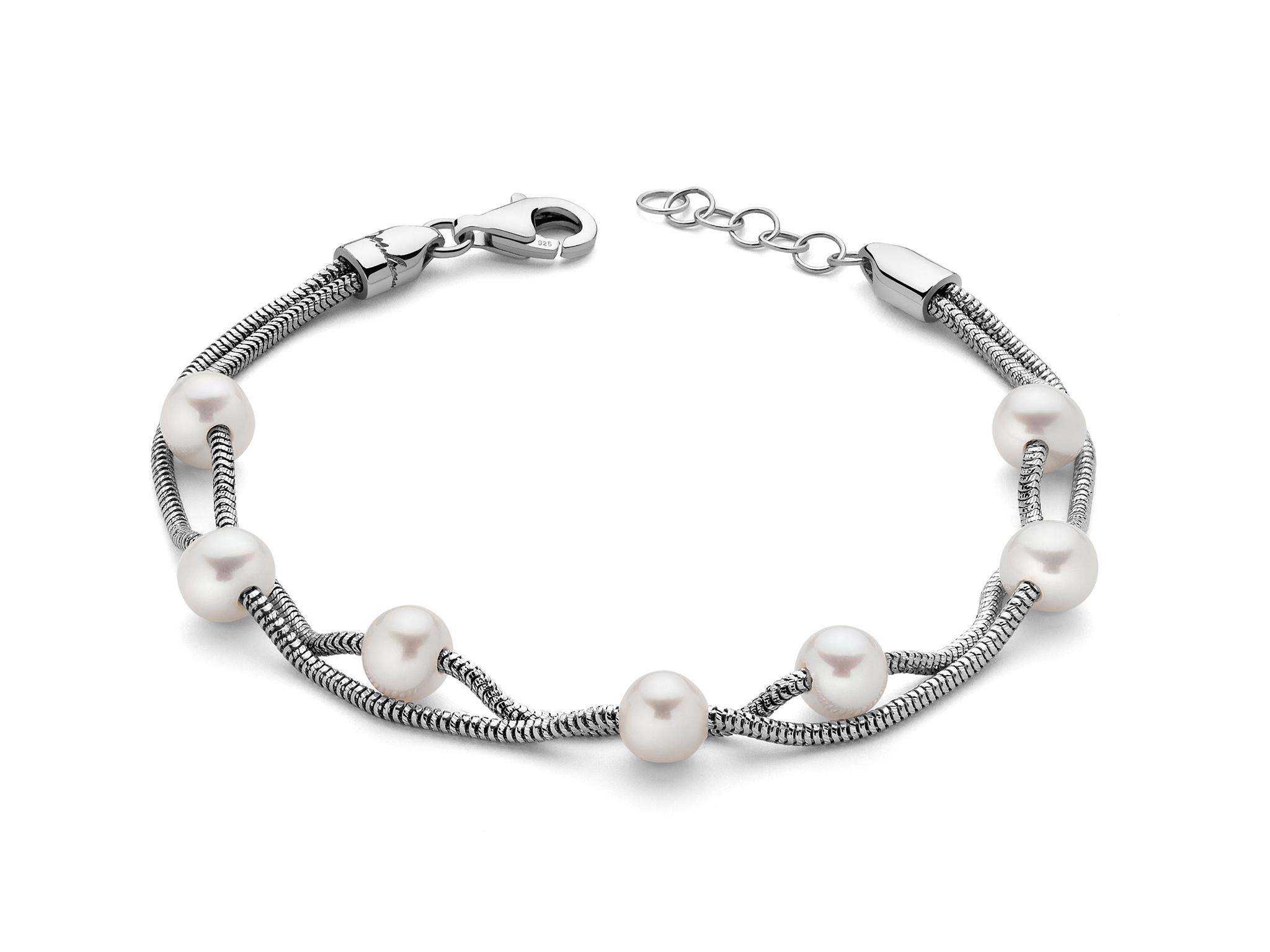 Bracciale multifilo in argento con perle - PBR2832
