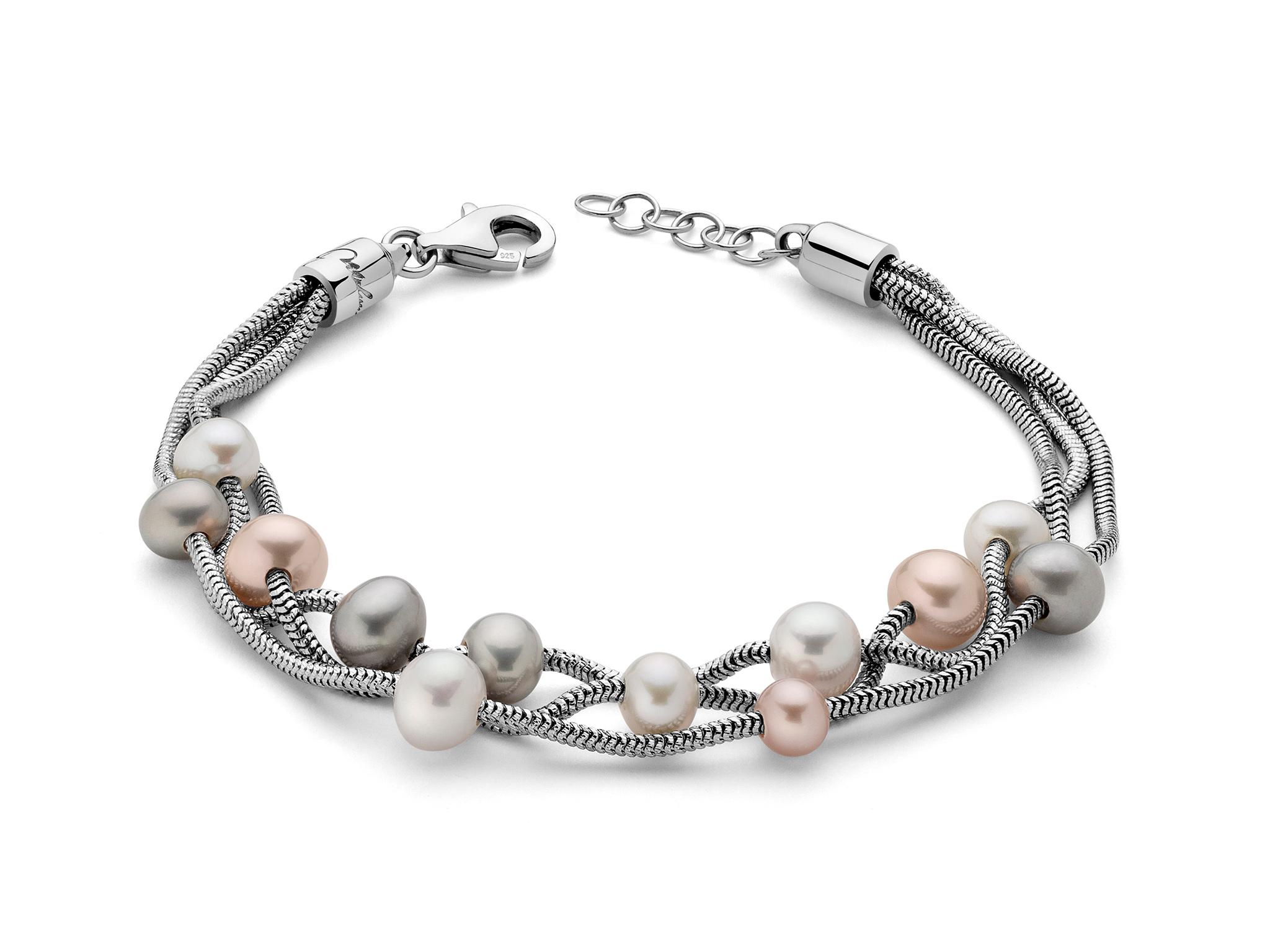 Bracciale multifilo in argento con perle - PBR2835