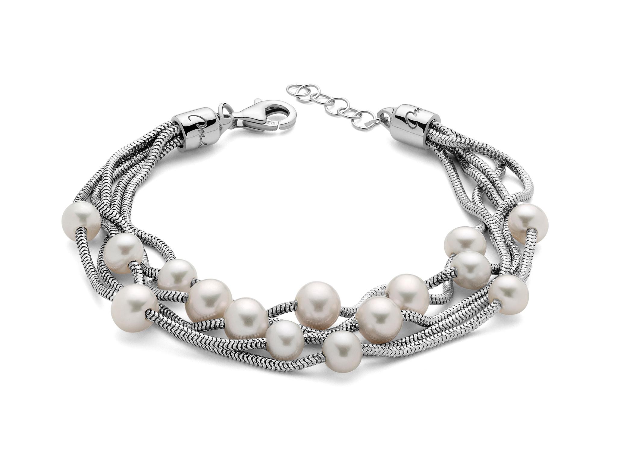 Bracciale in argento, multifilo, con perle. - PBR2836