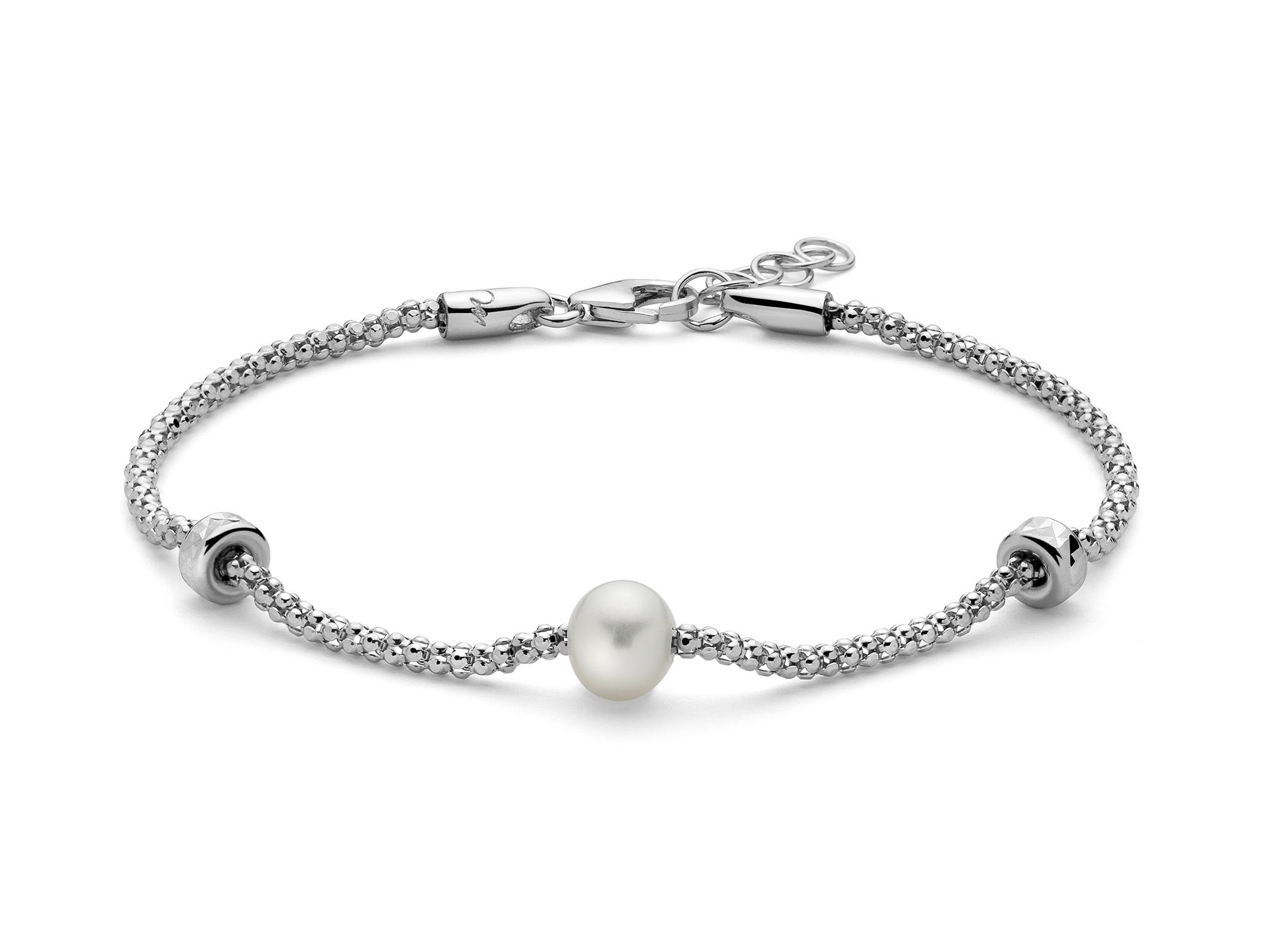 Bracciale con maglia coreana in argento con perla e decori. - PBR2987