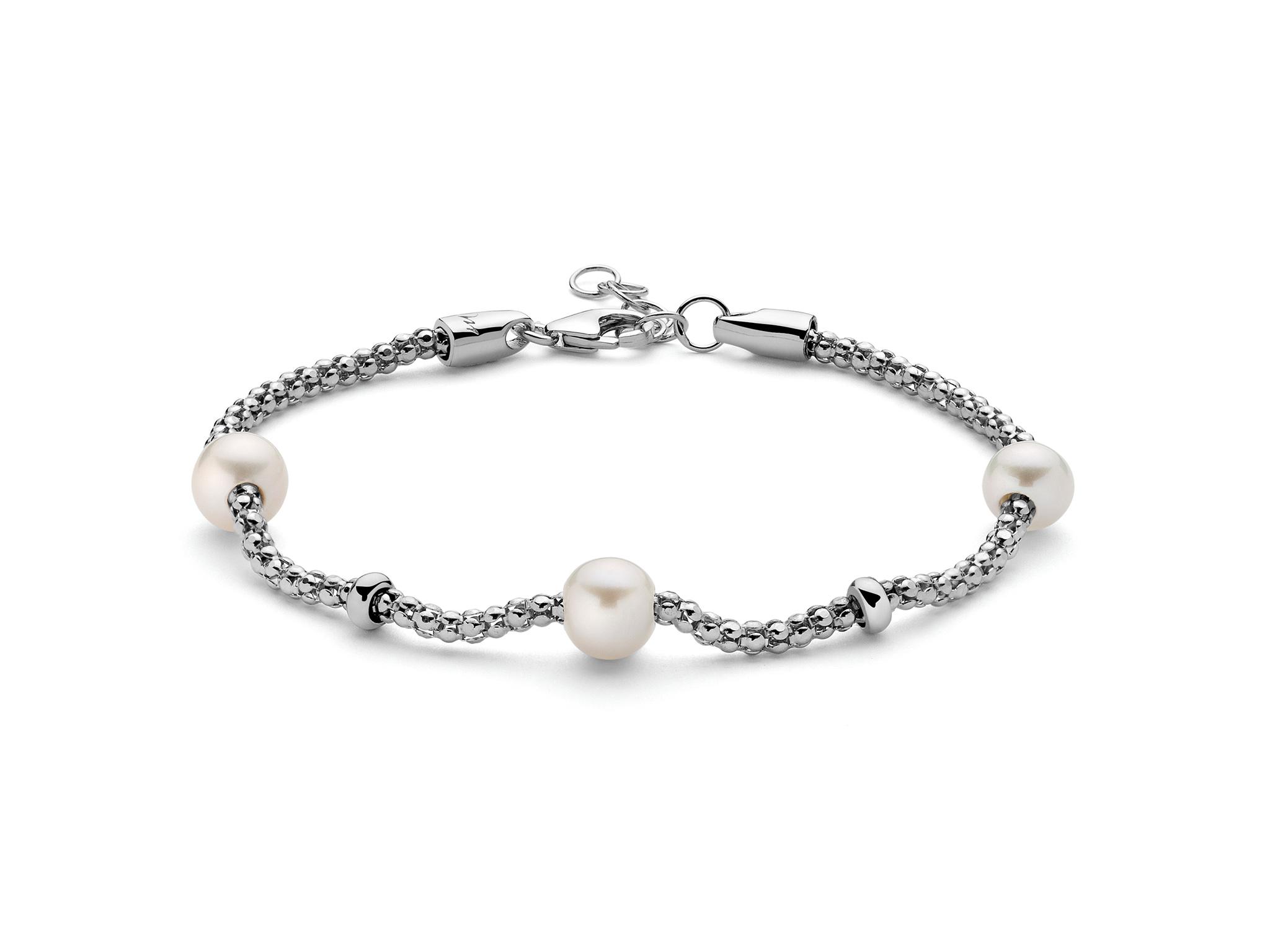 Bracciale con maglia coreana in argento con perle - PBR2989