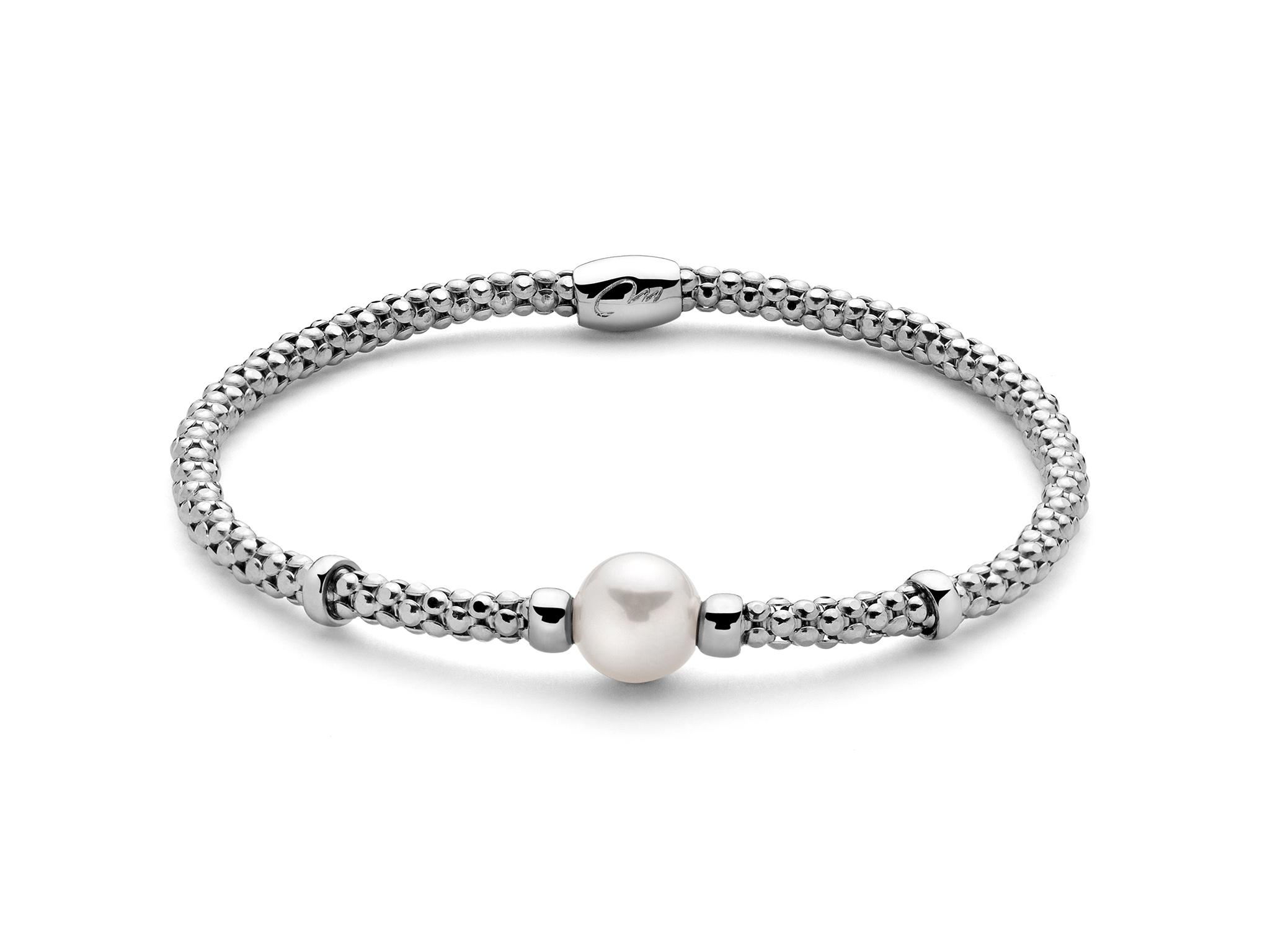 Bracciale in argento, elastico, con perla. - PBR2992-M
