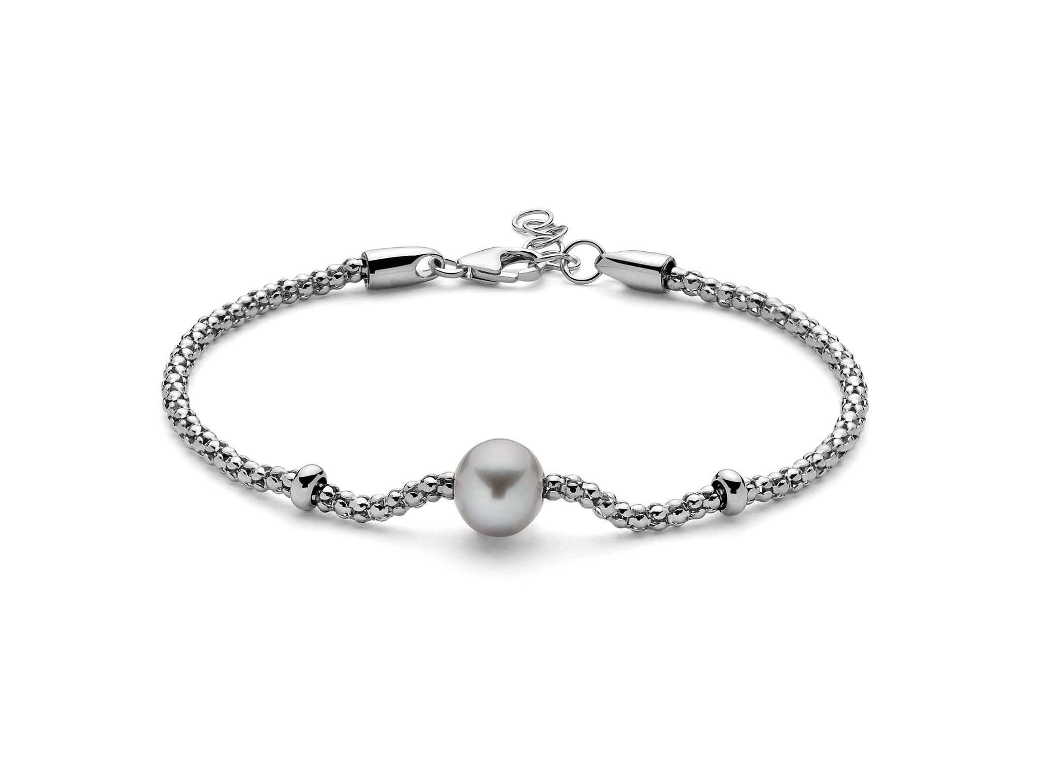 Bracciale con maglia coreana, in argento con centrale di perla - PBR3025