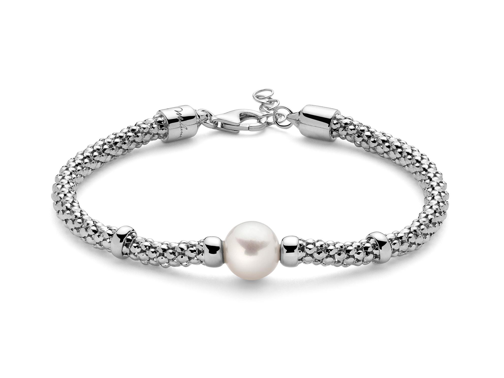 Bracciale con maglia coreana, in argento con perla. - PBR3026B