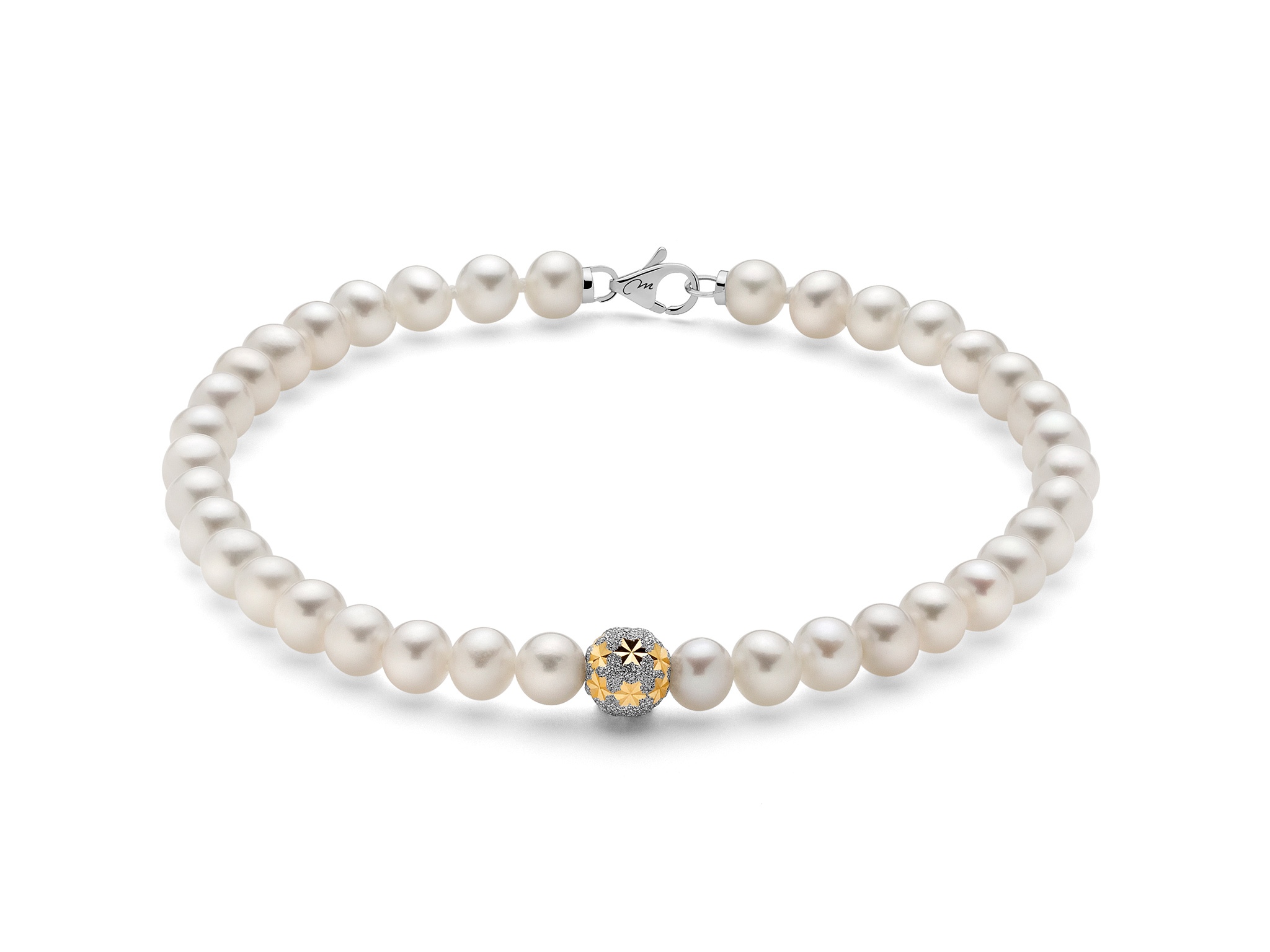Bracciale di perle con boule stellata in oro - PBR3058V
