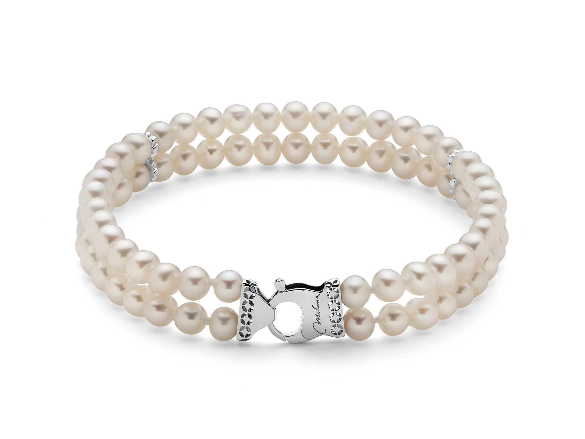 Bracciale multifilo di perle con chiusura in oro - PBR3074