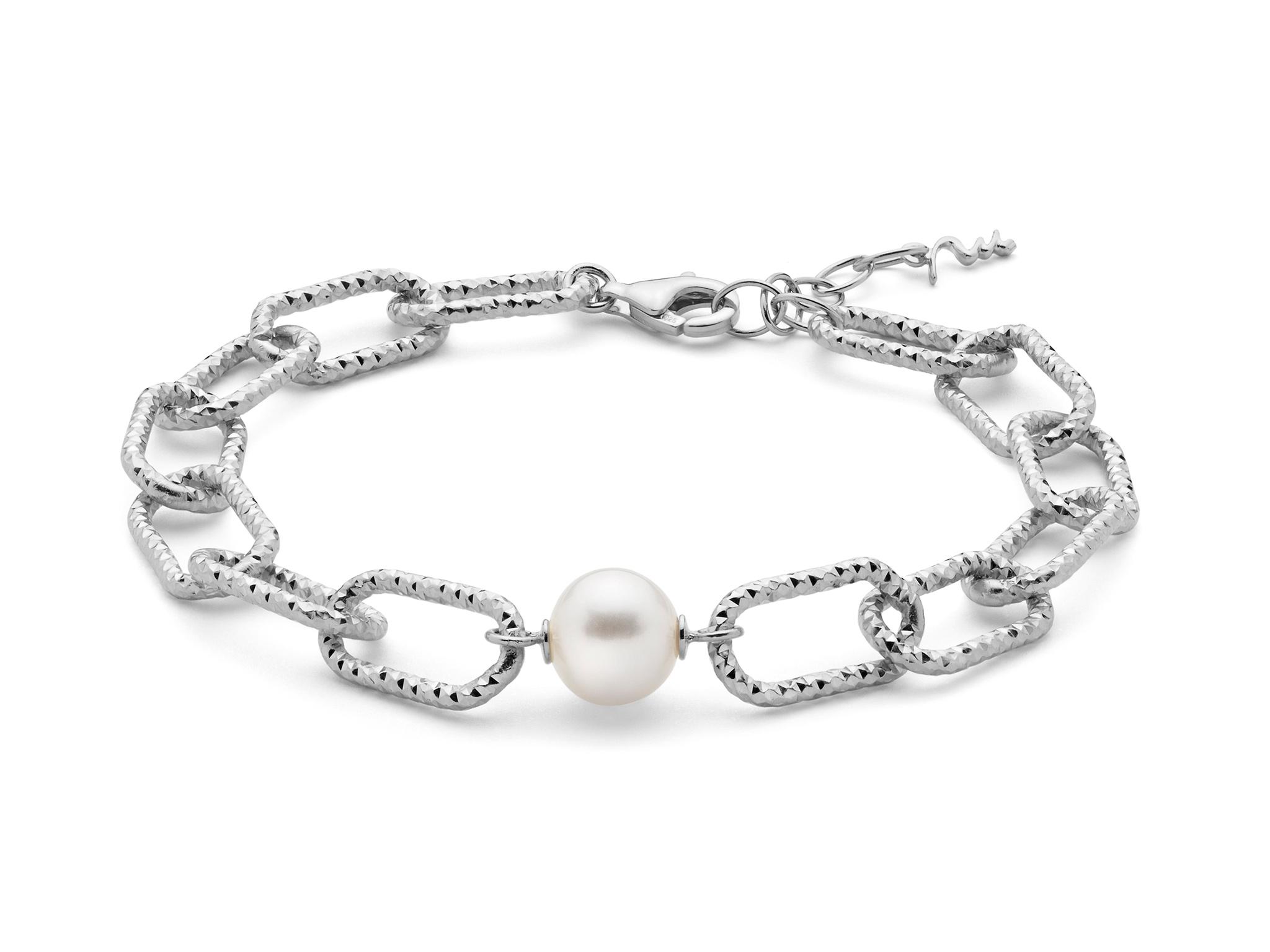 Bracciale con catena a maglia grande, in argento con perla. - PBR3203B