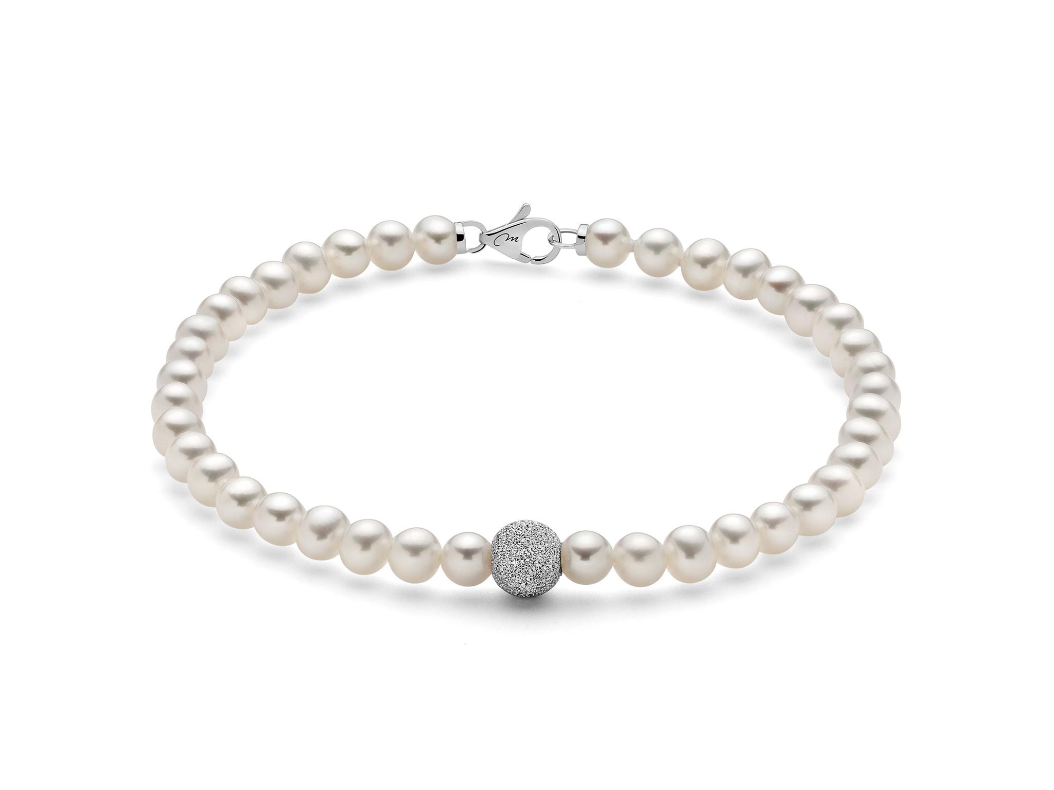 Bracciale di perle con boule diamantata in oro - PBR893V