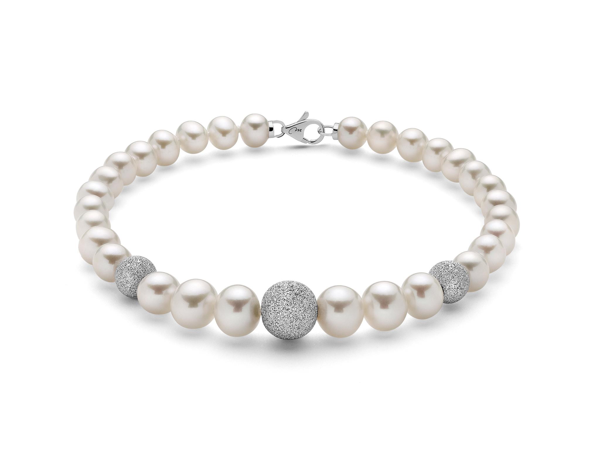 Bracciale di perle con tre boule diamantate - PBR999V