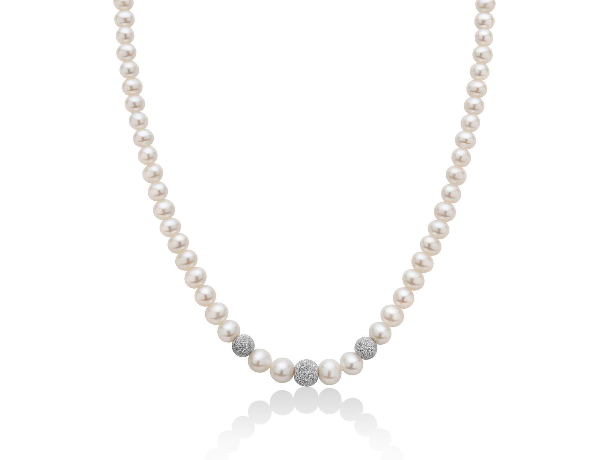 Collana di perle Oriente con boule diamantate - PCL2089BV