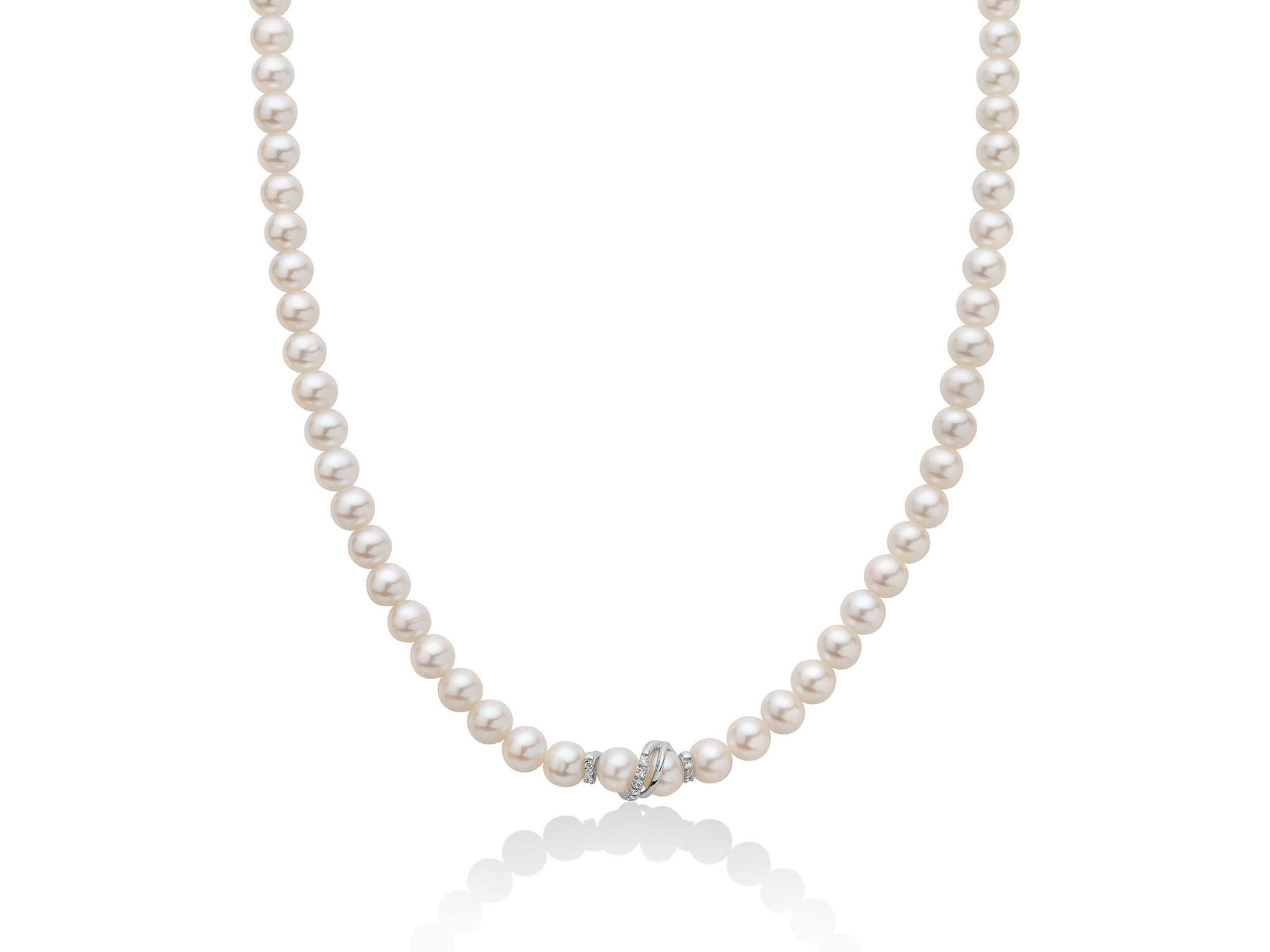 Collana di perle con centrale in oro e diamanti - PCL3726V