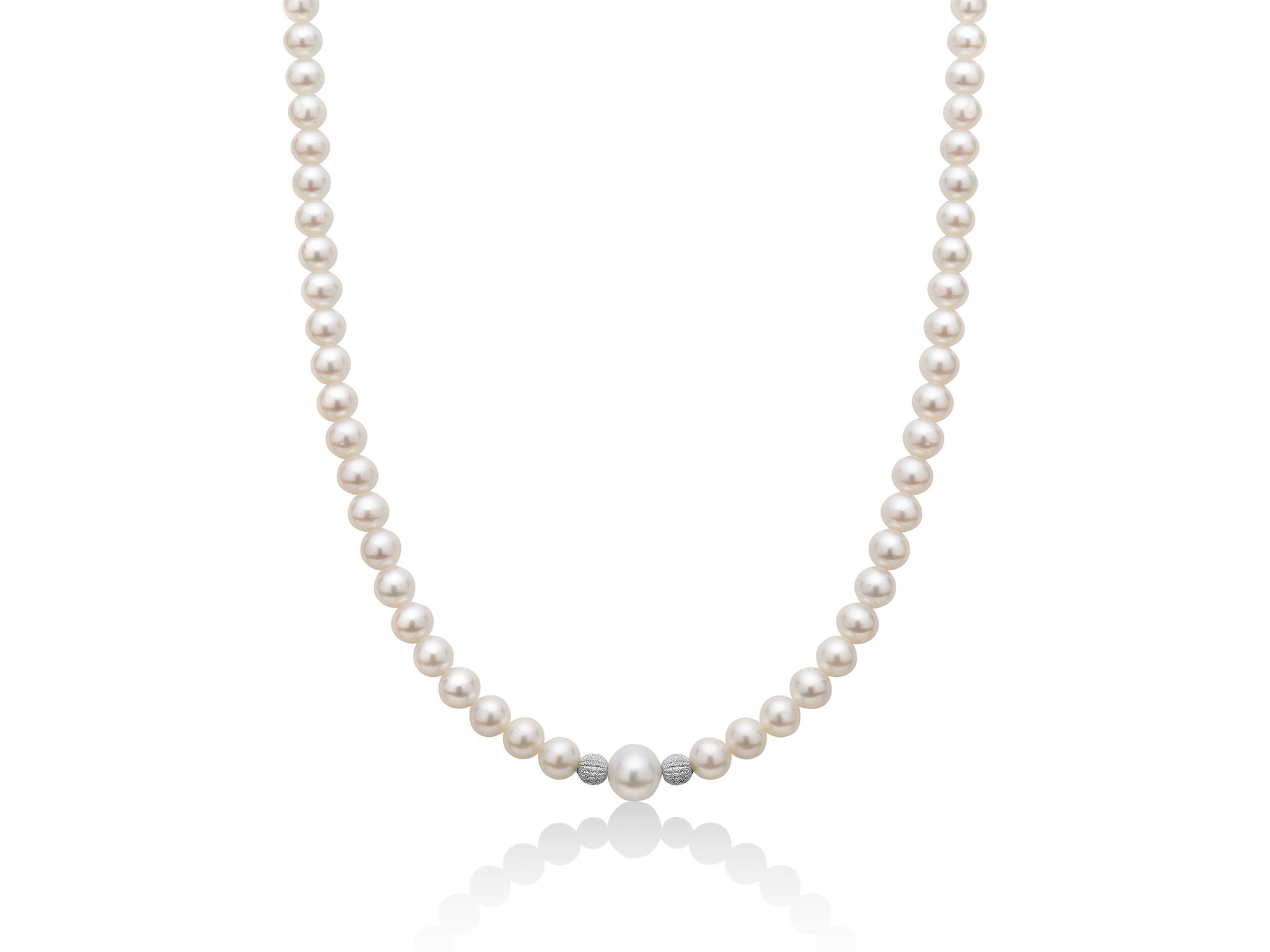 Collana di perle con centrale e boule diamantate - PCL5304V