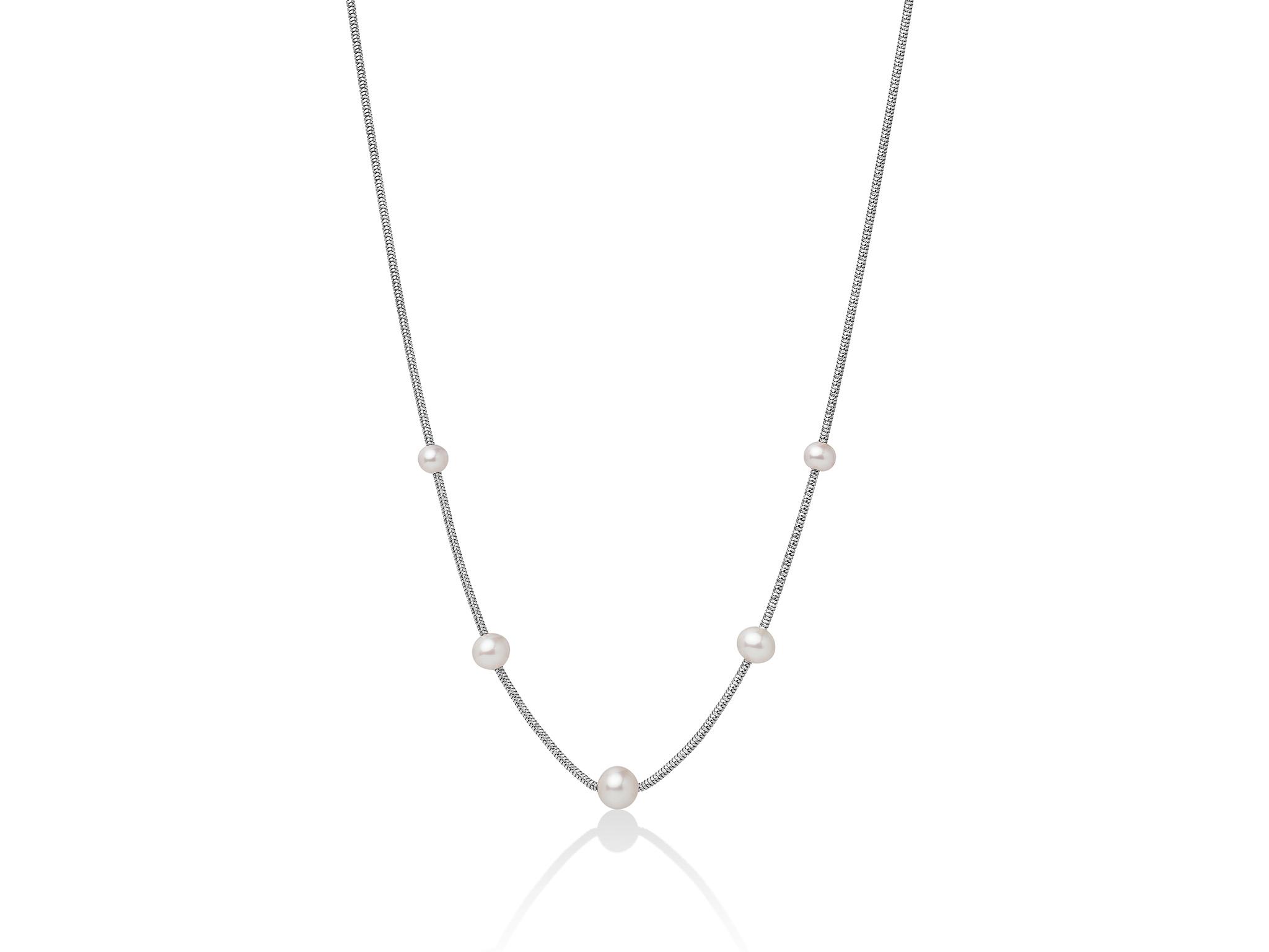 Collana monofilo in argento con perle bianche - PCL5623