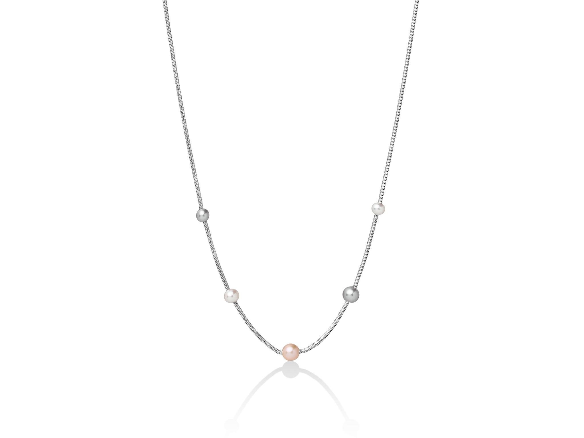 Collana monofilo in argento con perle multicolore - PCL5624