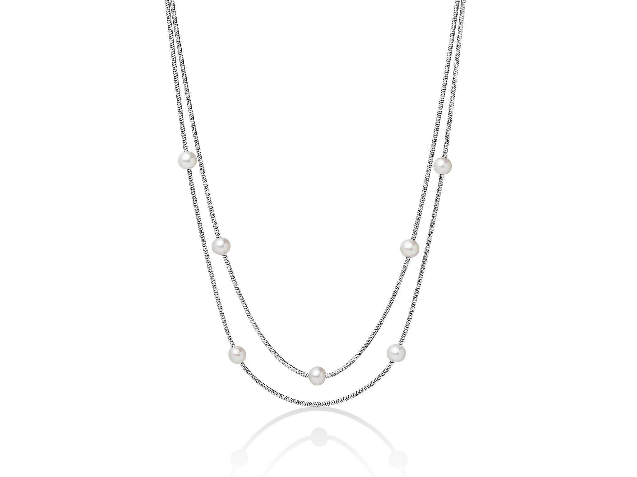 Collana con fili in argento e perle. - PCL5625