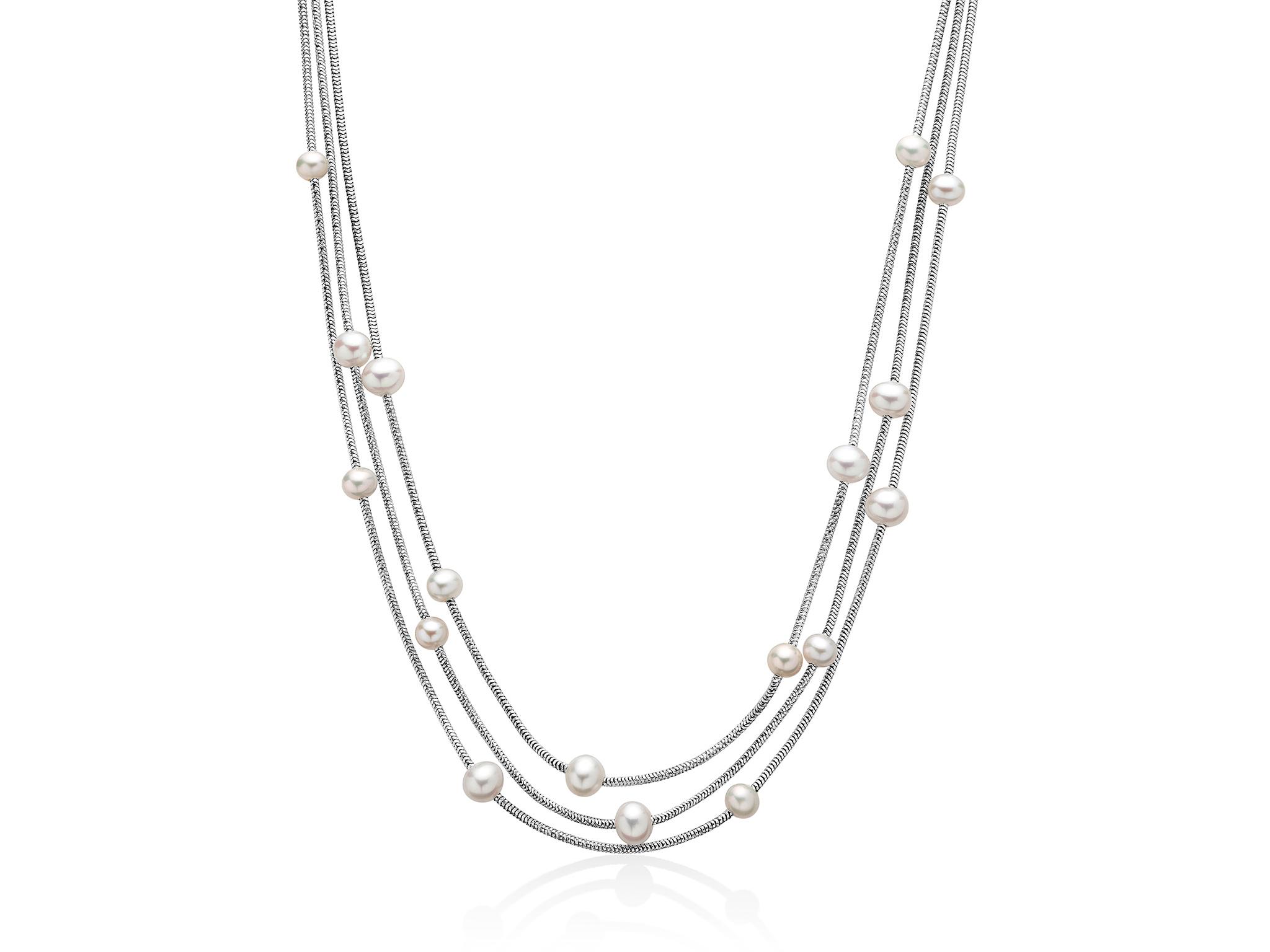 Collana multifilo con perle in argento - PCL5628