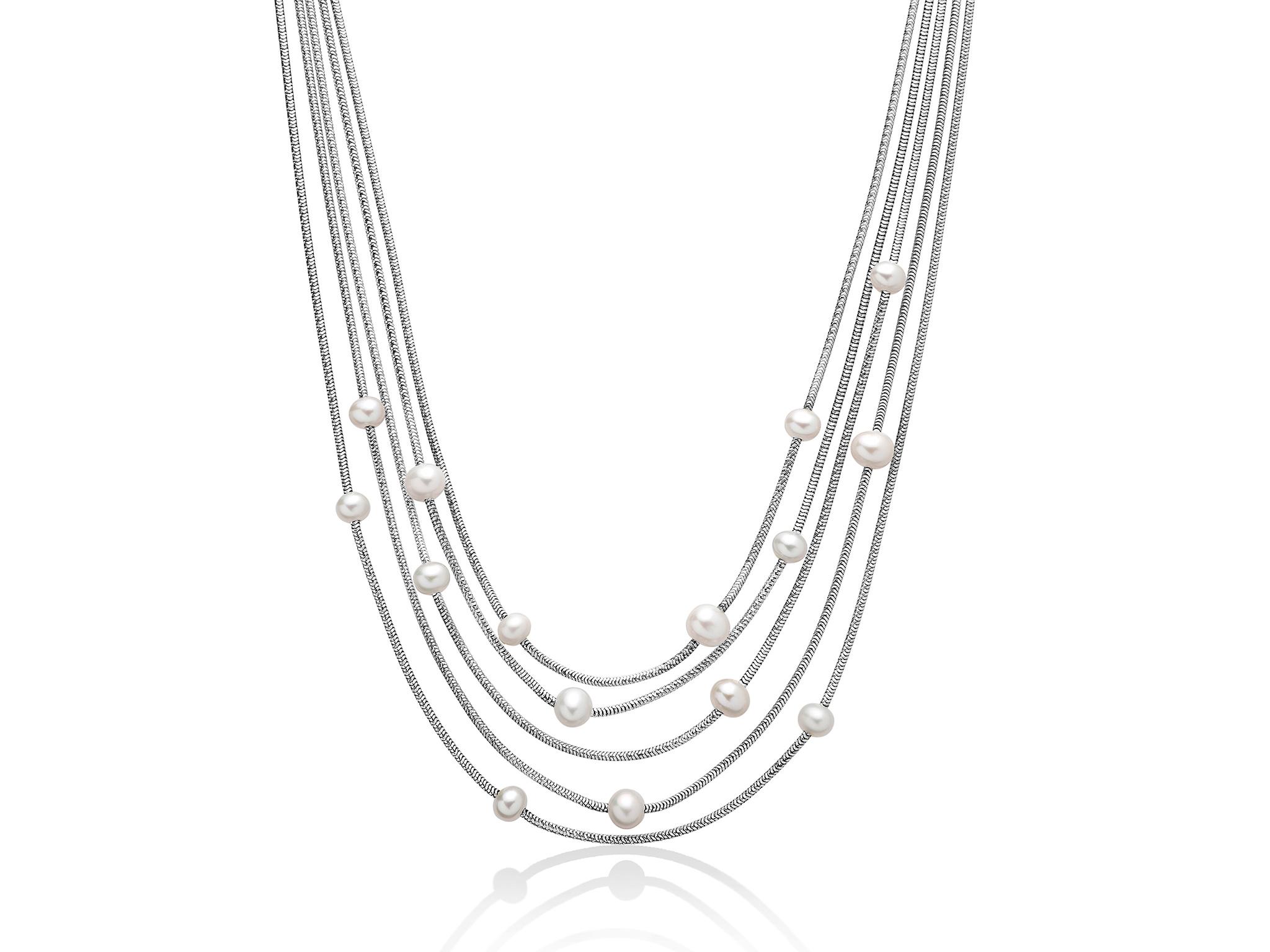 Collana multifilo in argento con perle. - PCL5629