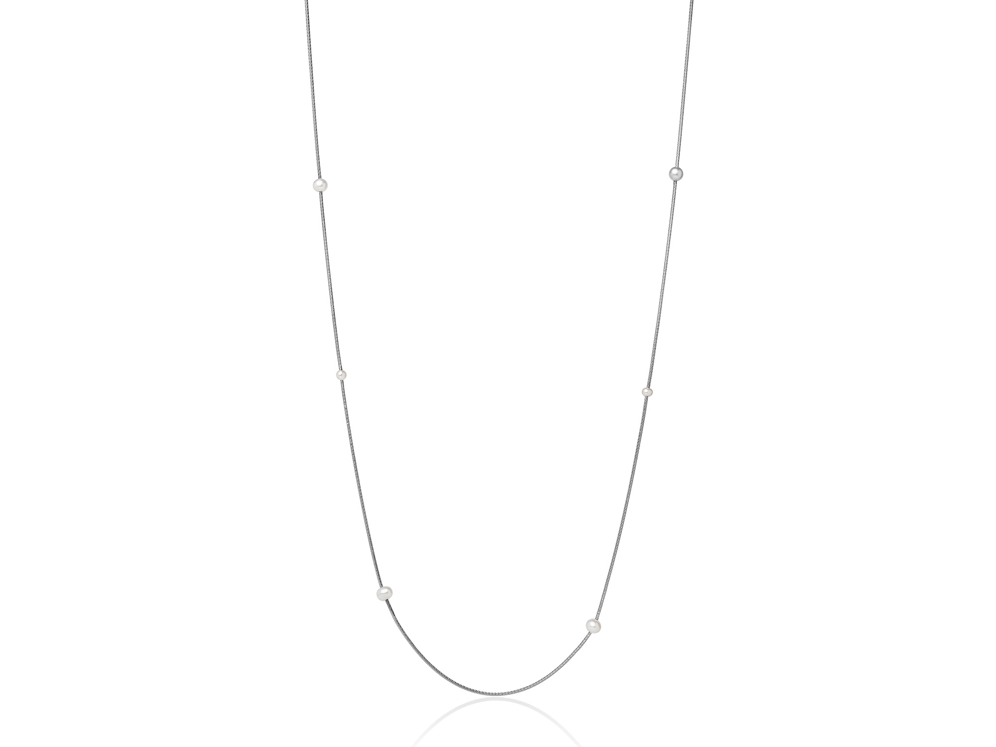 Collana lunga in argento con perle. - PCL5630