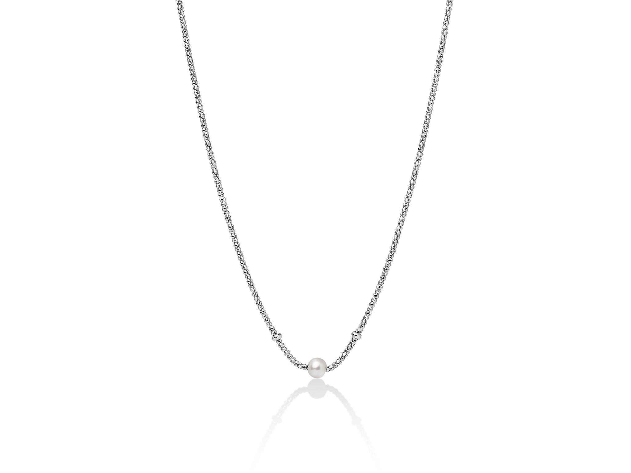 Collana con maglia coreana, in argento e perla centrale. - PCL5832