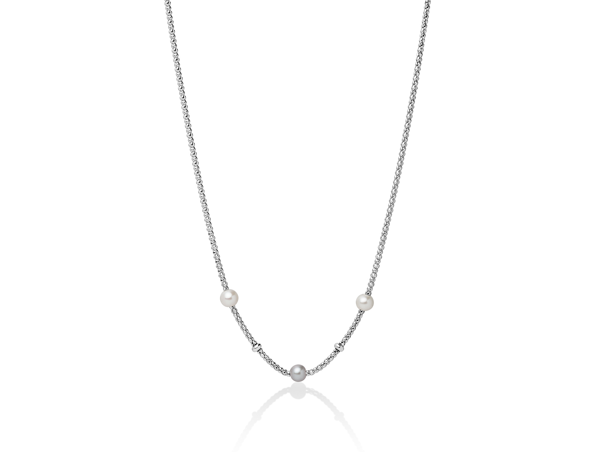 Collana con maglia coreana, in argento con tre perle - PCL5801