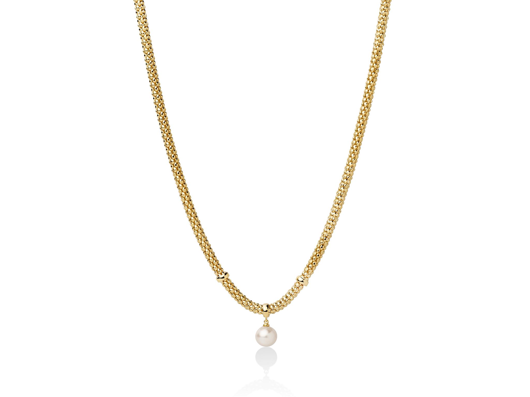 Collana con maglia coreana, in argento con perla. - PCL5833G