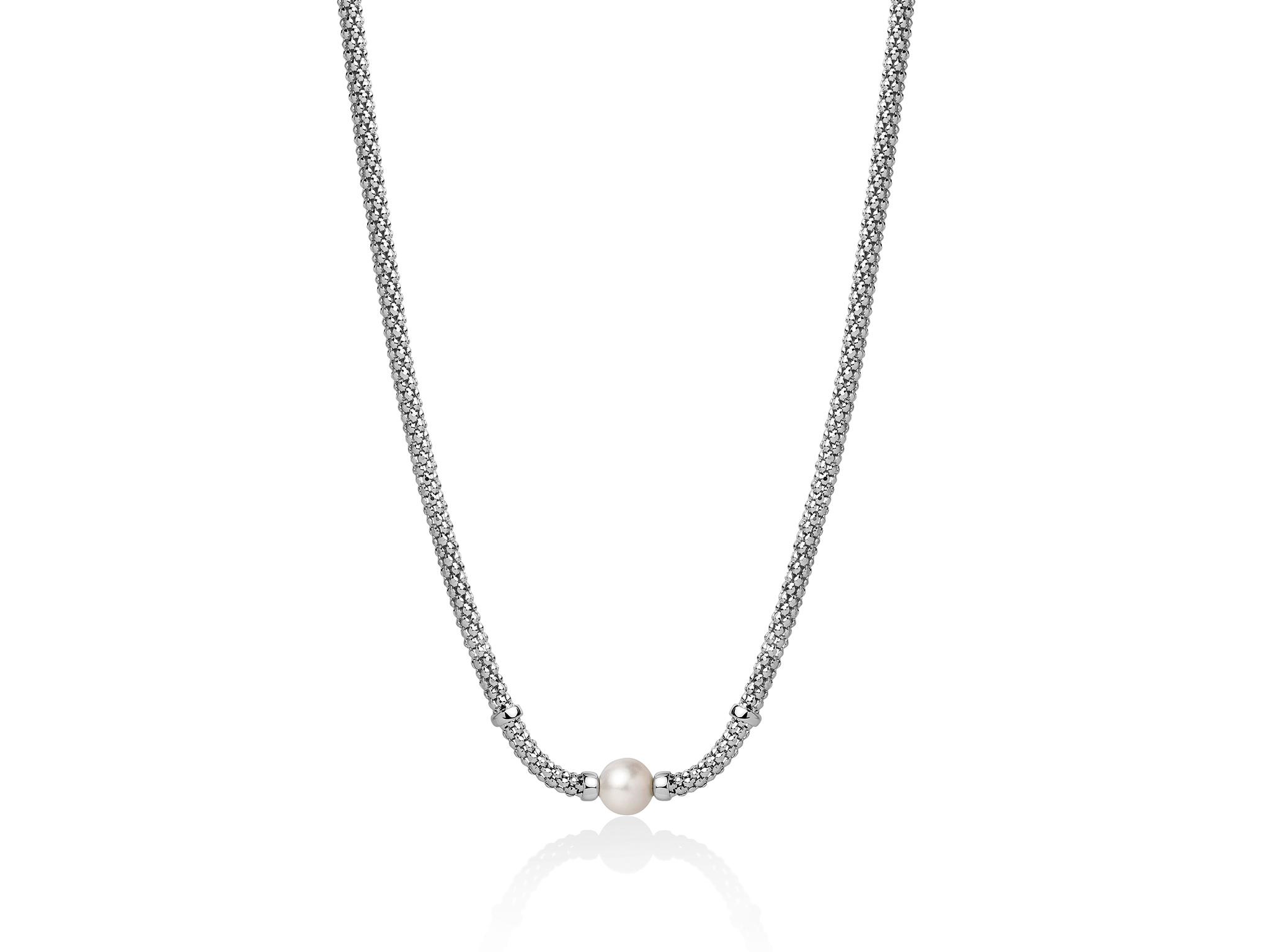 Collana con maglia coreana, in argento e centrale con perla - PCL5835B