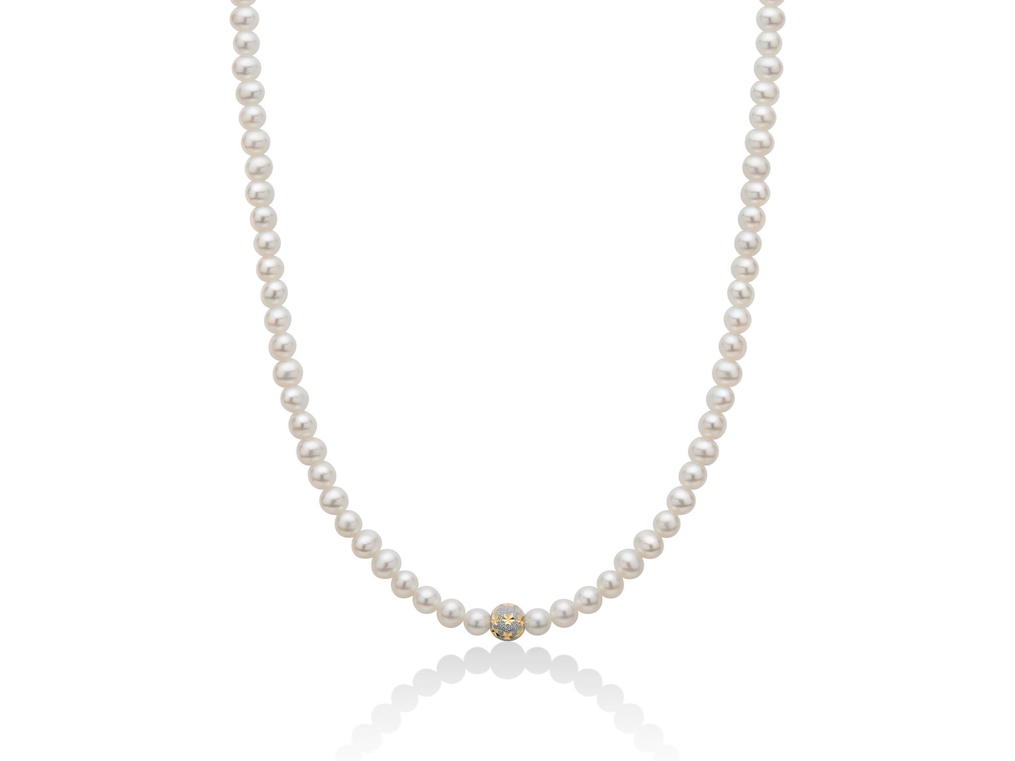 Collana di perle con boule stellata in oro giallo - PCL5904V