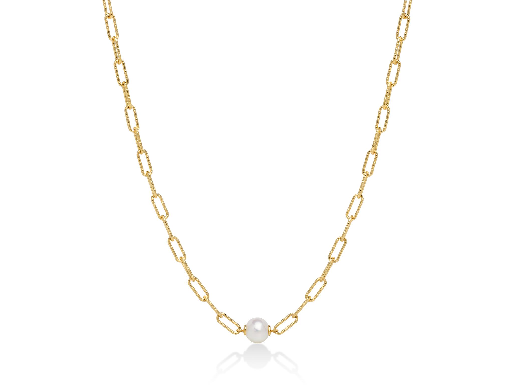 Collana con catena a maglia, in argento con perla. - PCL6021B