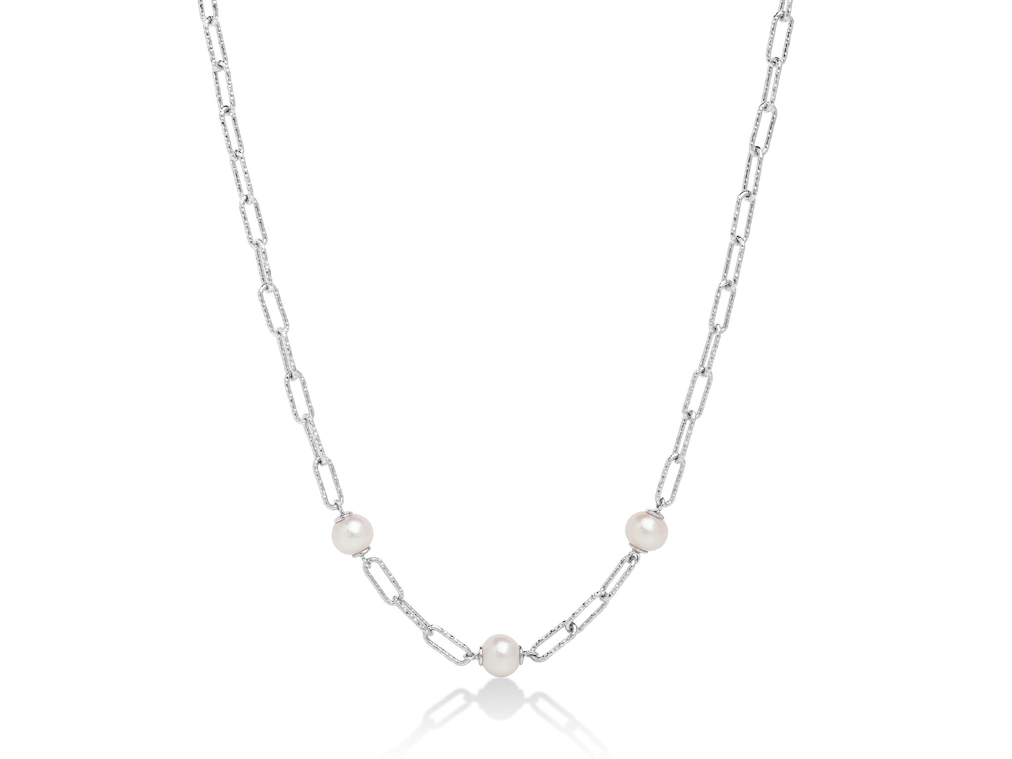 Collana con catena a maglia, in argento con tre perle. - PCL6065