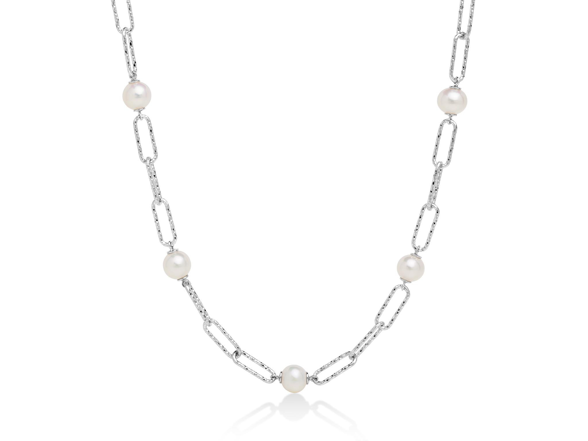 Collana con catena a maglia, in argento con cinque perle. - PCL6066