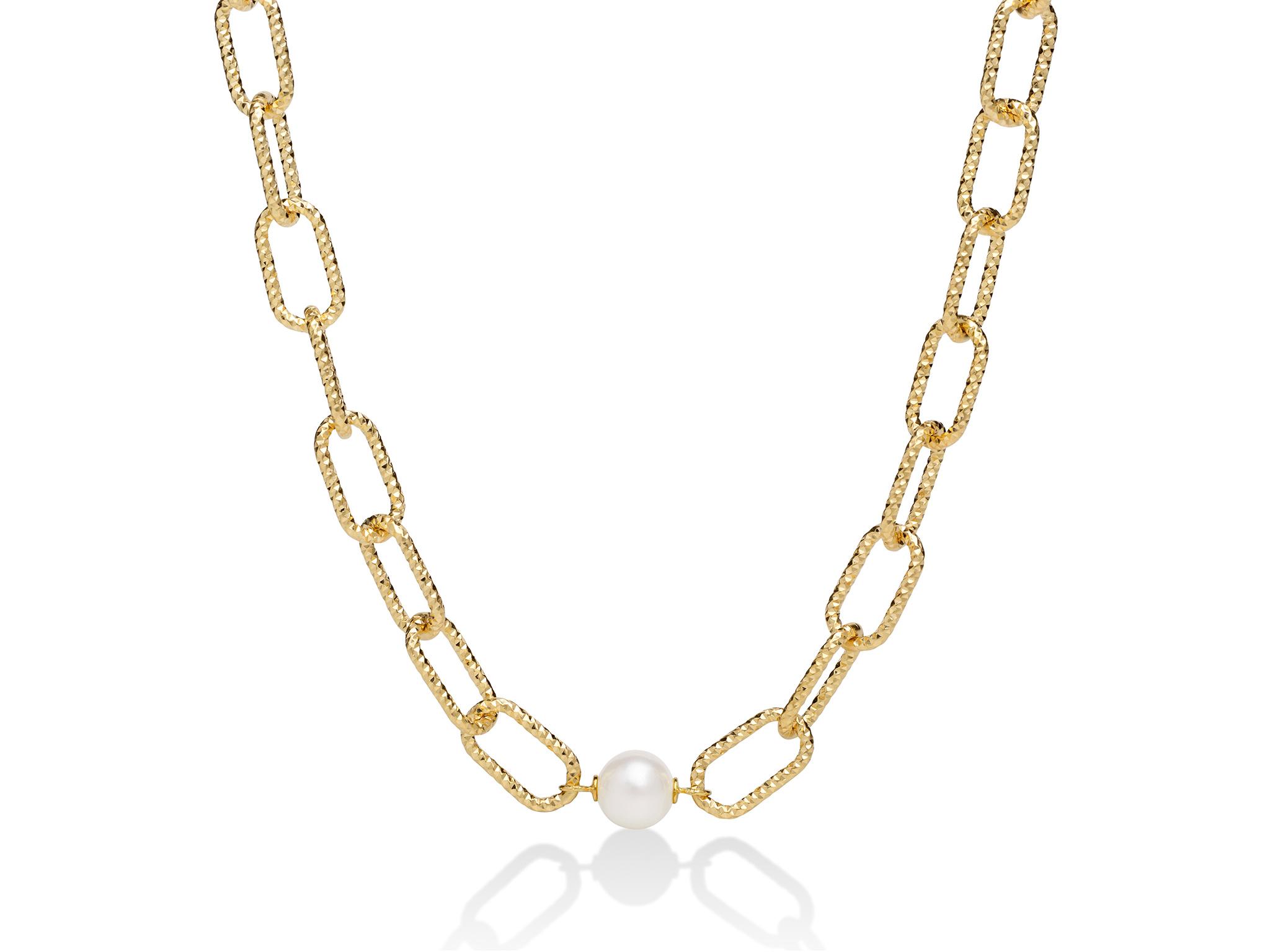 Collana con catena a maglia grande, in argento con perla - PCL6070G